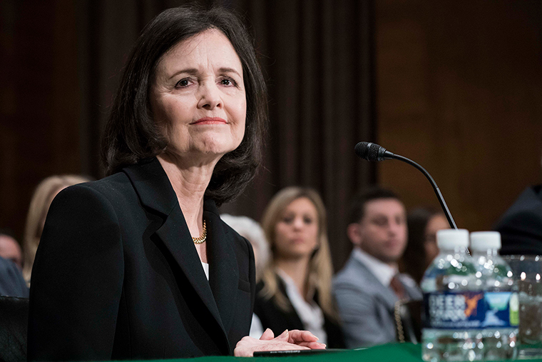 Judy Shelton testifies before the Senate Banking, Housing and Urban Affairs Committee on February 13, in Washington, DC.