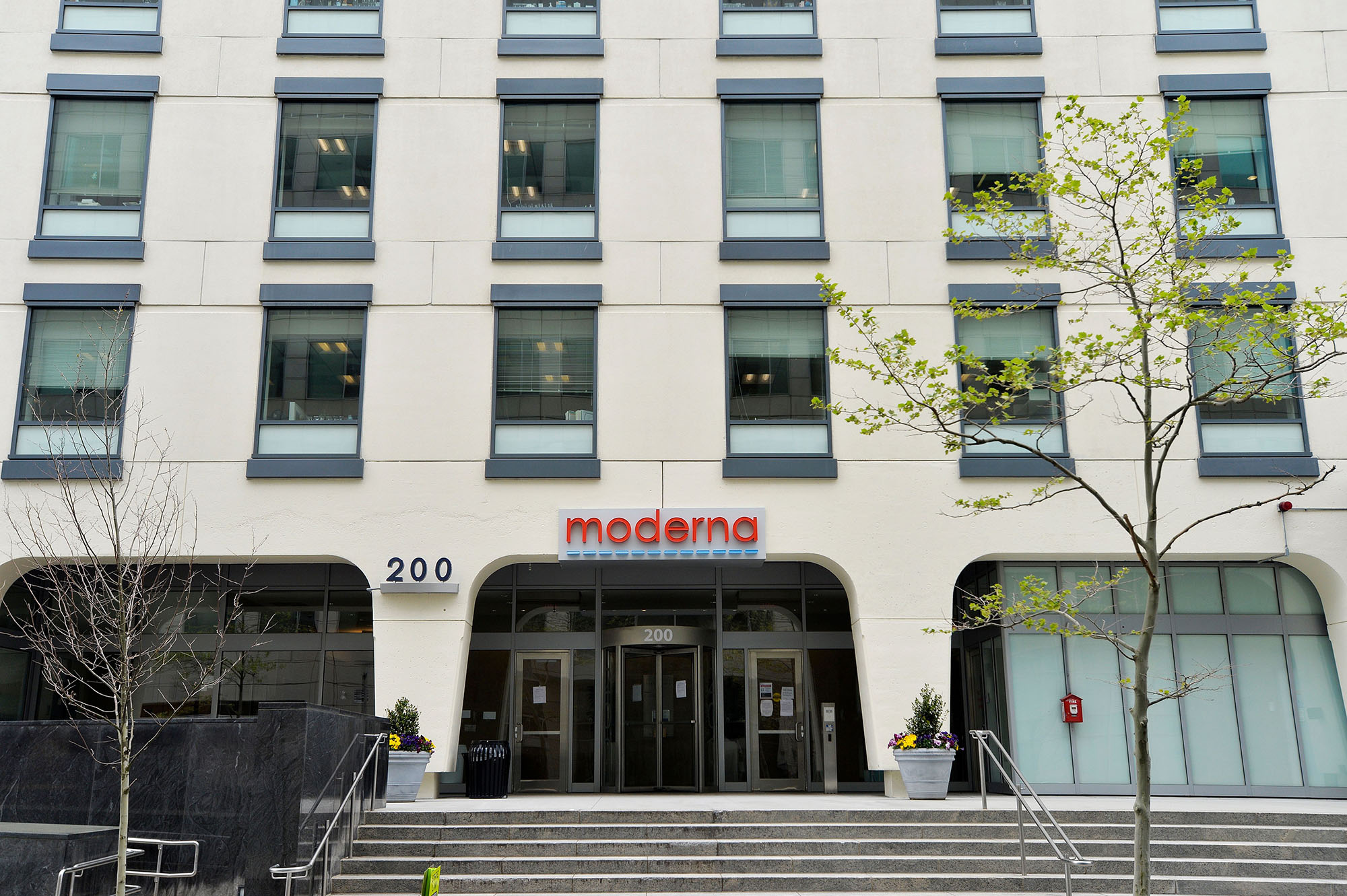 The Moderna headquarters in Cambridge, Massachusetts, on May 18, 2020.