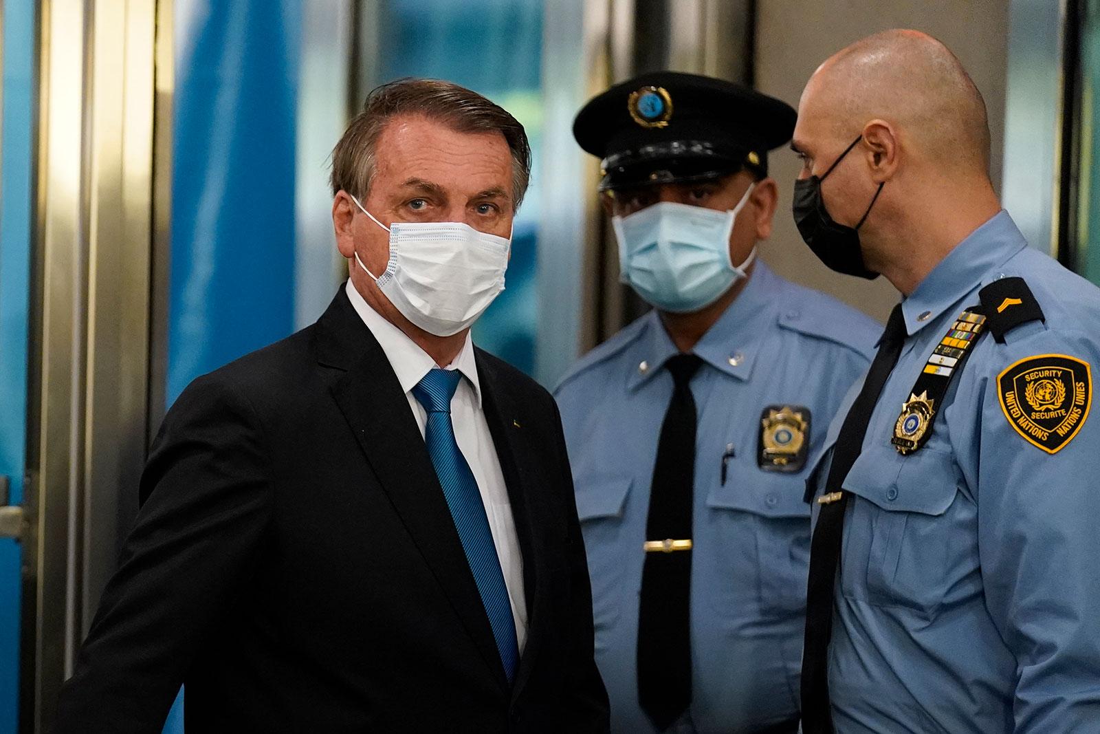 Brazilian President Jair Bolsonaro arrives for the United Nations General Assembly in New York on September 21.