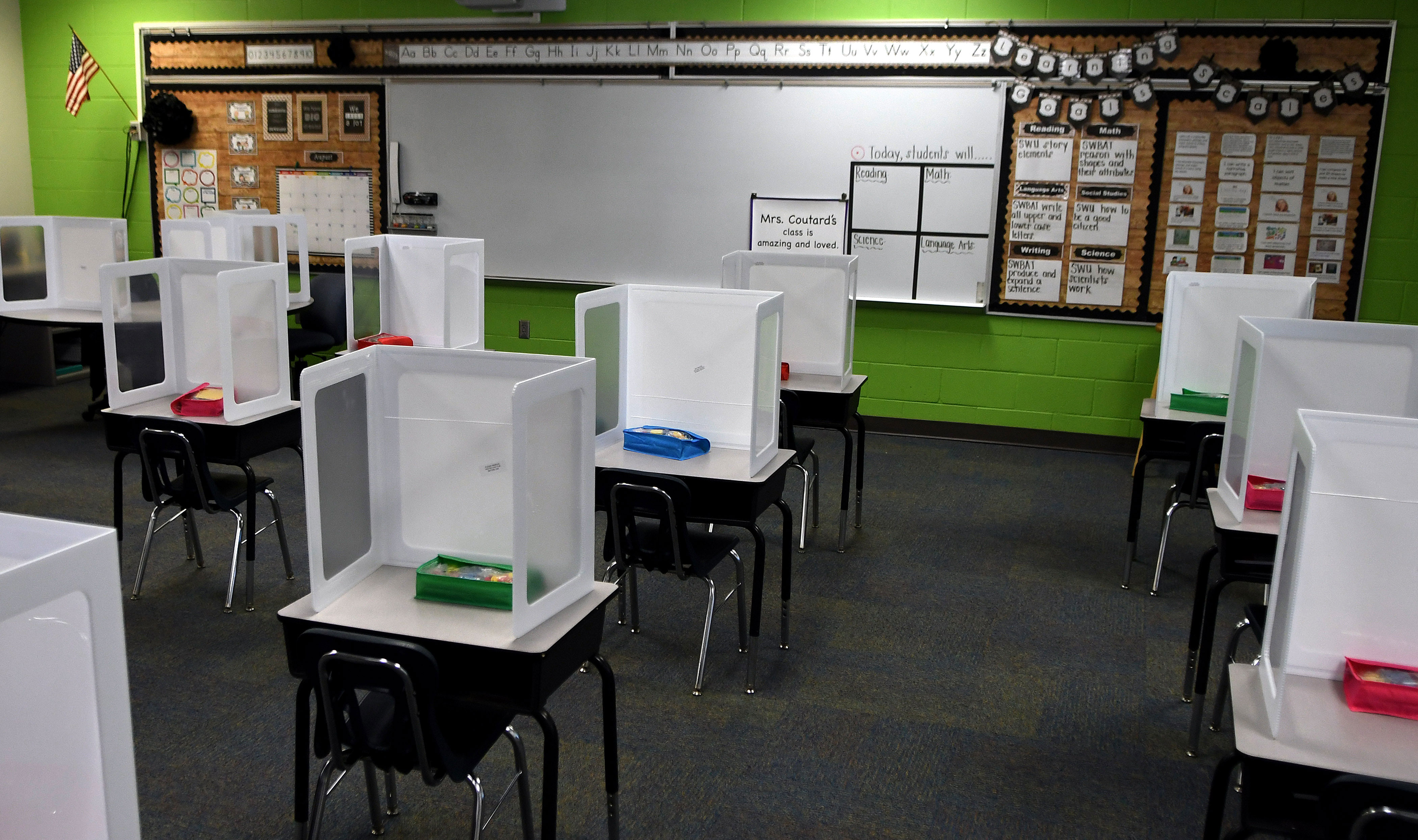 A classroom at Layer Elementary School in Winter Springs, Florida, is seen during a media preview on August 10, 2020.