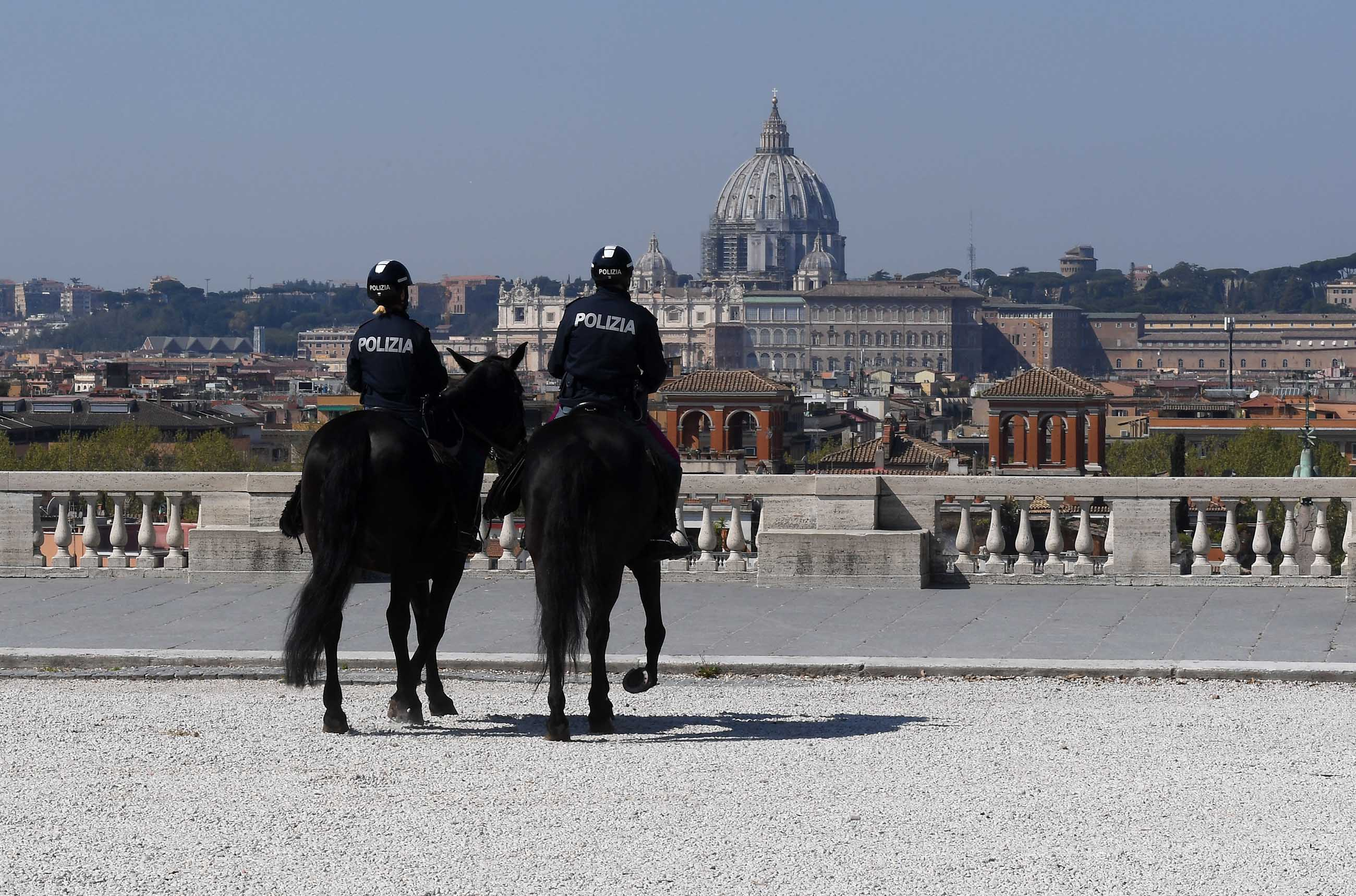 Mounted police patrol in Rome, Italy, on April 11.