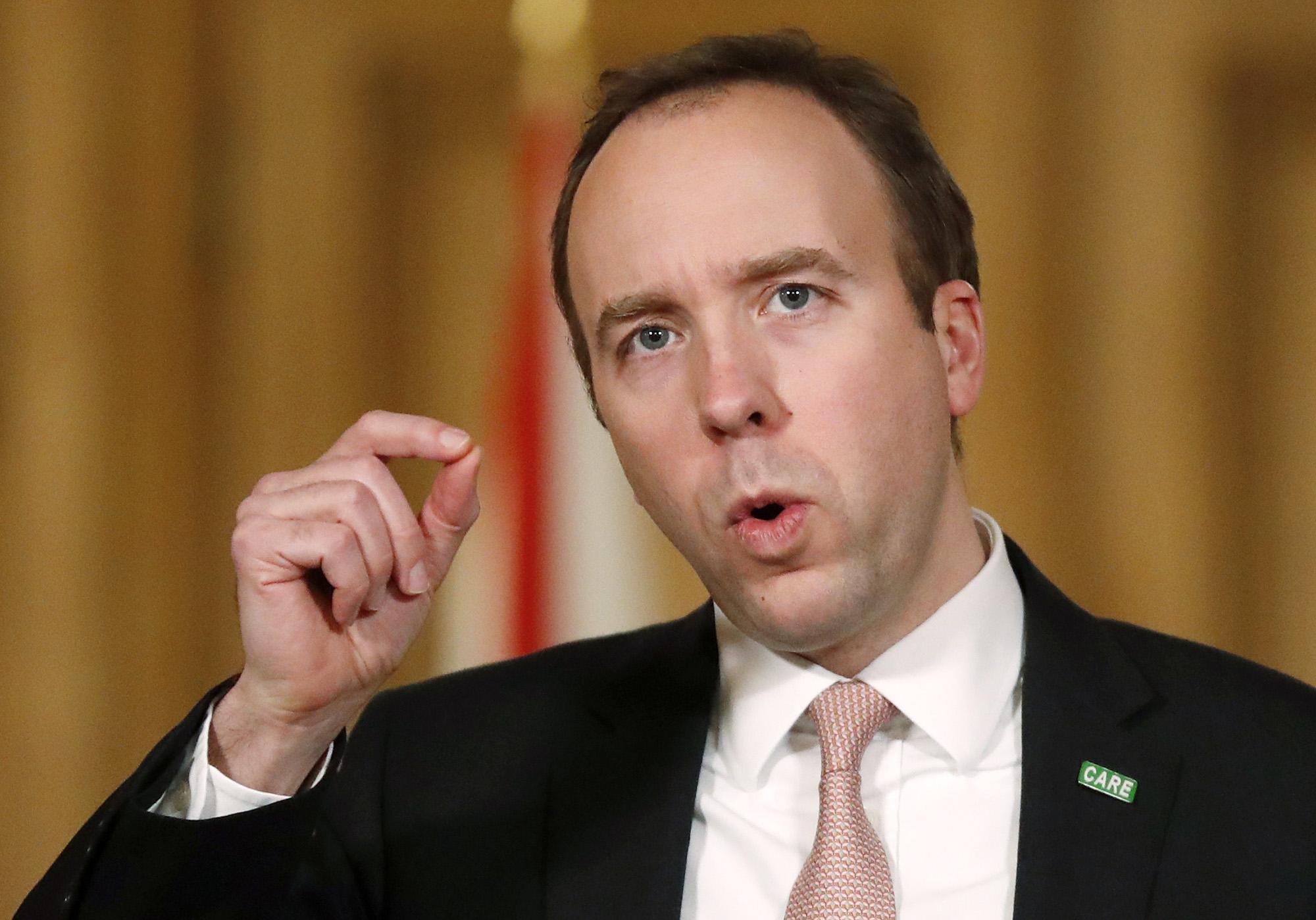 British Health Secretary Matt Hancock speaks at a coronavirus news conference at 10 Downing Street on January 11, in London, England.