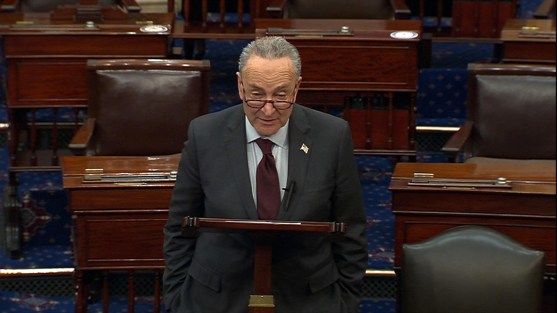 Senate Majority Leader Chuck Schumer speaks on the Senate floor on Tuesday, February 2.
