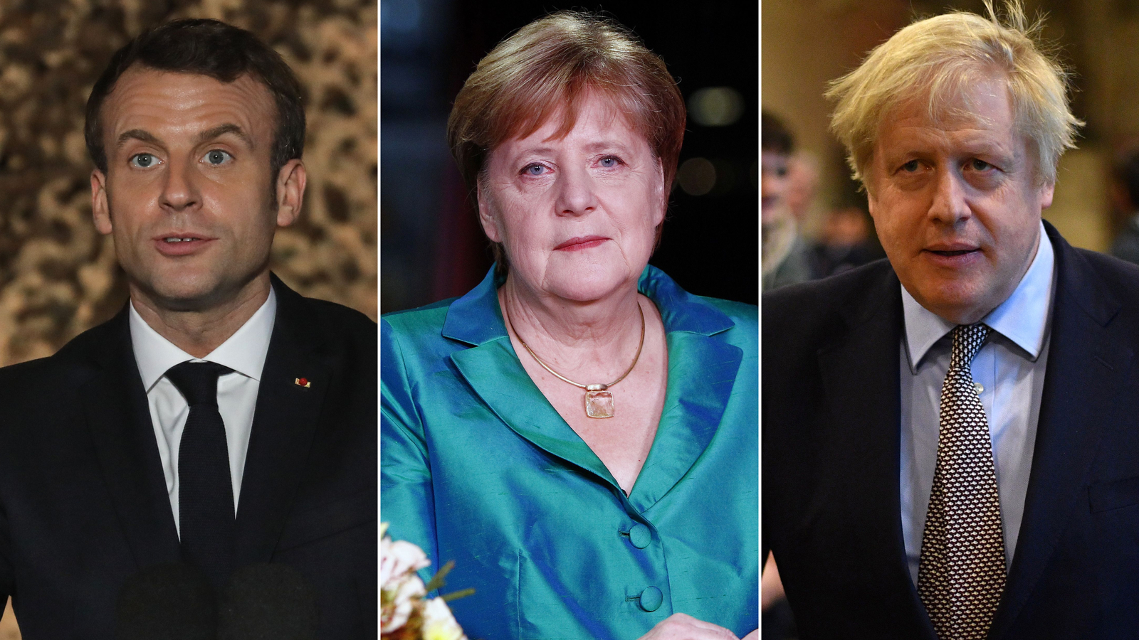 L-R: French President Emmanuel Macron, German Chancellor Angela Merkel and British Prime Minister Boris Johnson