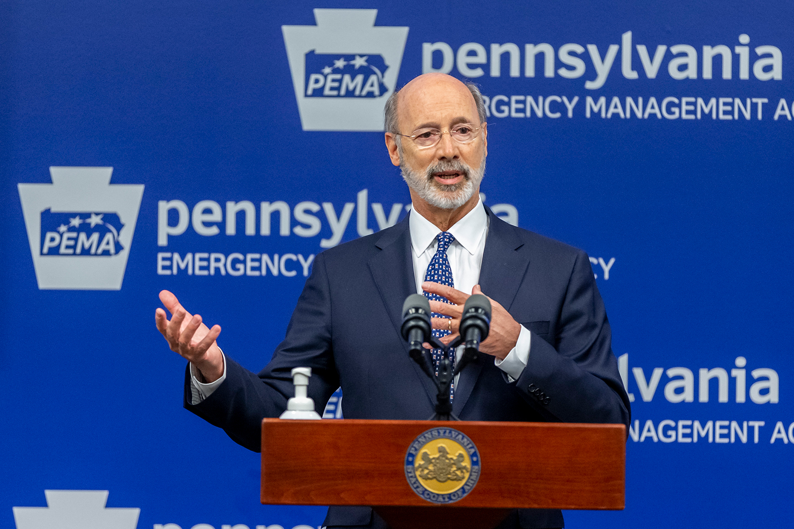 Gov. Tom Wolf meets with the media at The Pennsylvania Emergency Management Agency (PEMA) headquarters Harrisburg, Pennsylvania, on May 29.