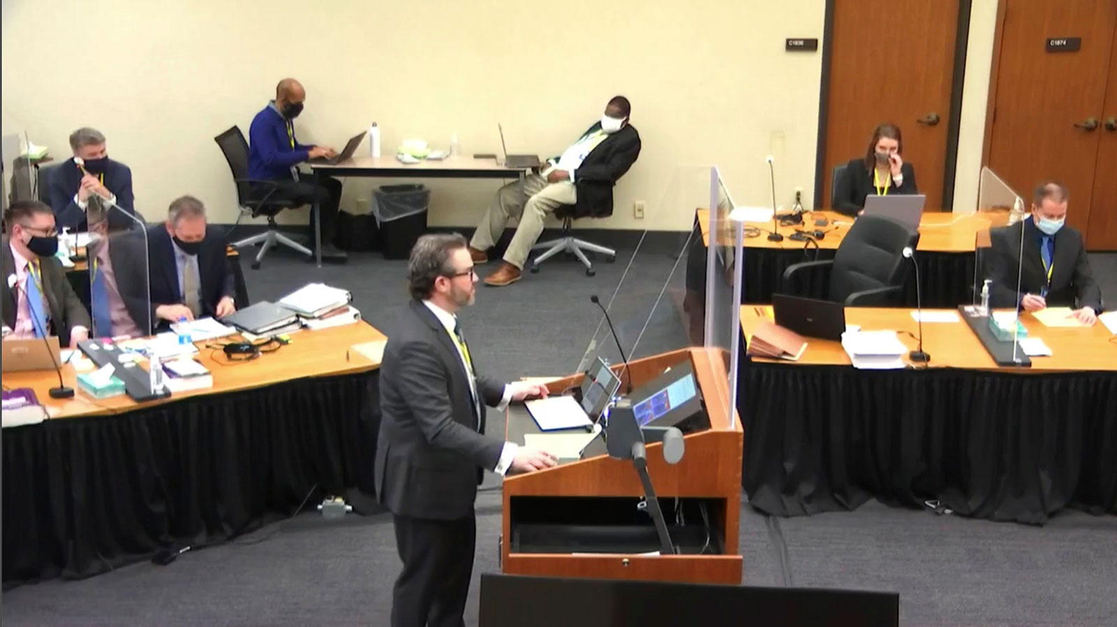 Defense attorney Eric Nelson questions Los Angeles Police Department Sgt. Jody Stiger on Wednesday, April 7.