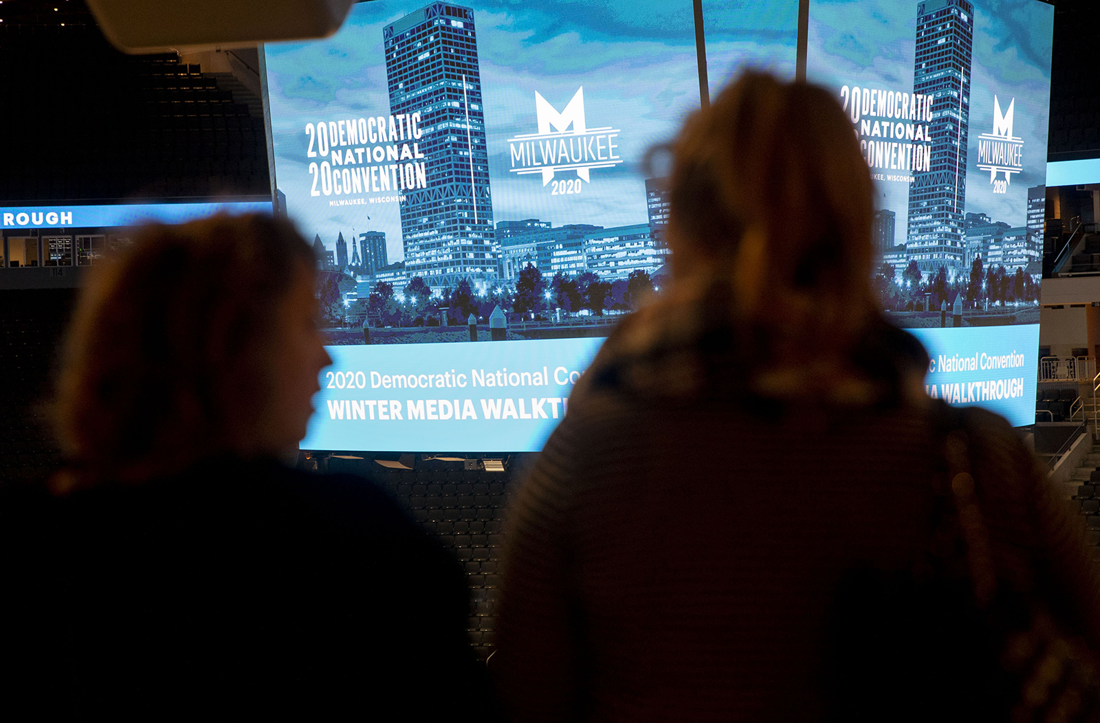 Signage is displayed during a media walkthrough for the upcoming Democratic National Convention at the Fiserv Forum in Milwaukee, on Tuesday, January 7.