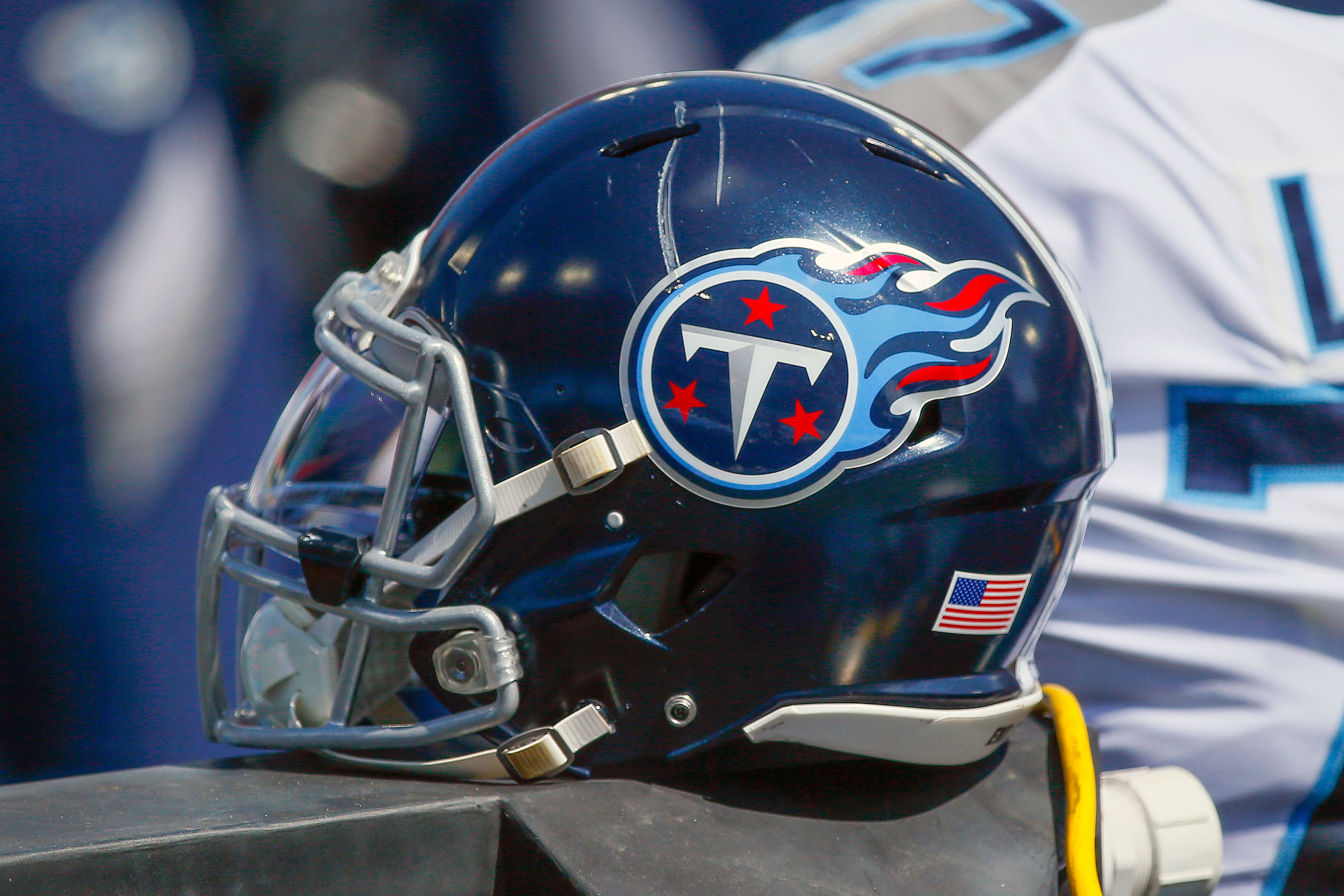 A Tennessee Titans helmet is on the sideline during a game in Nashville on September 20.