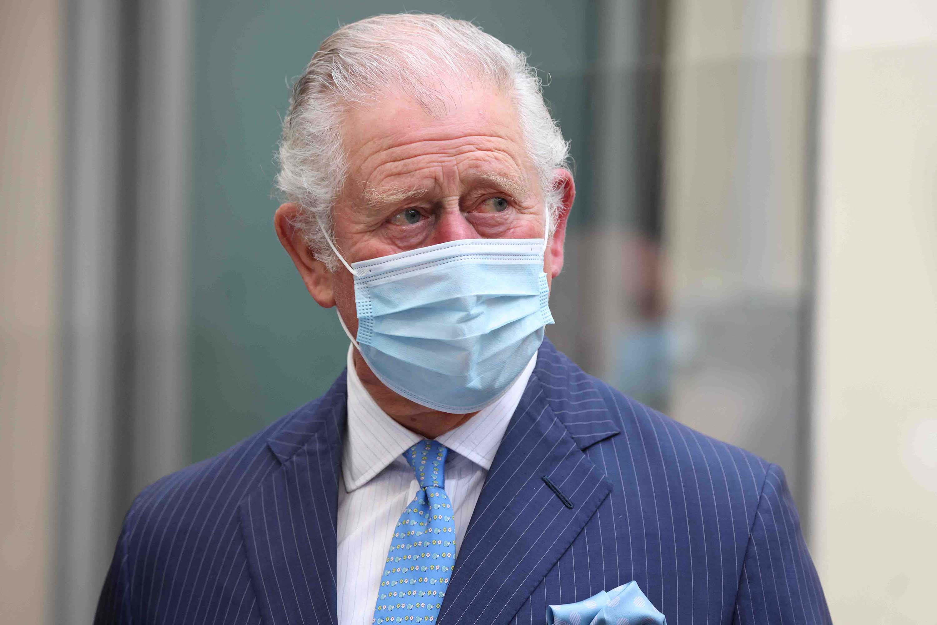 Britain's Prince Charles is pictured during a visit to a temporary NHS Covid-19 vaccine clinic in London, on March 9.