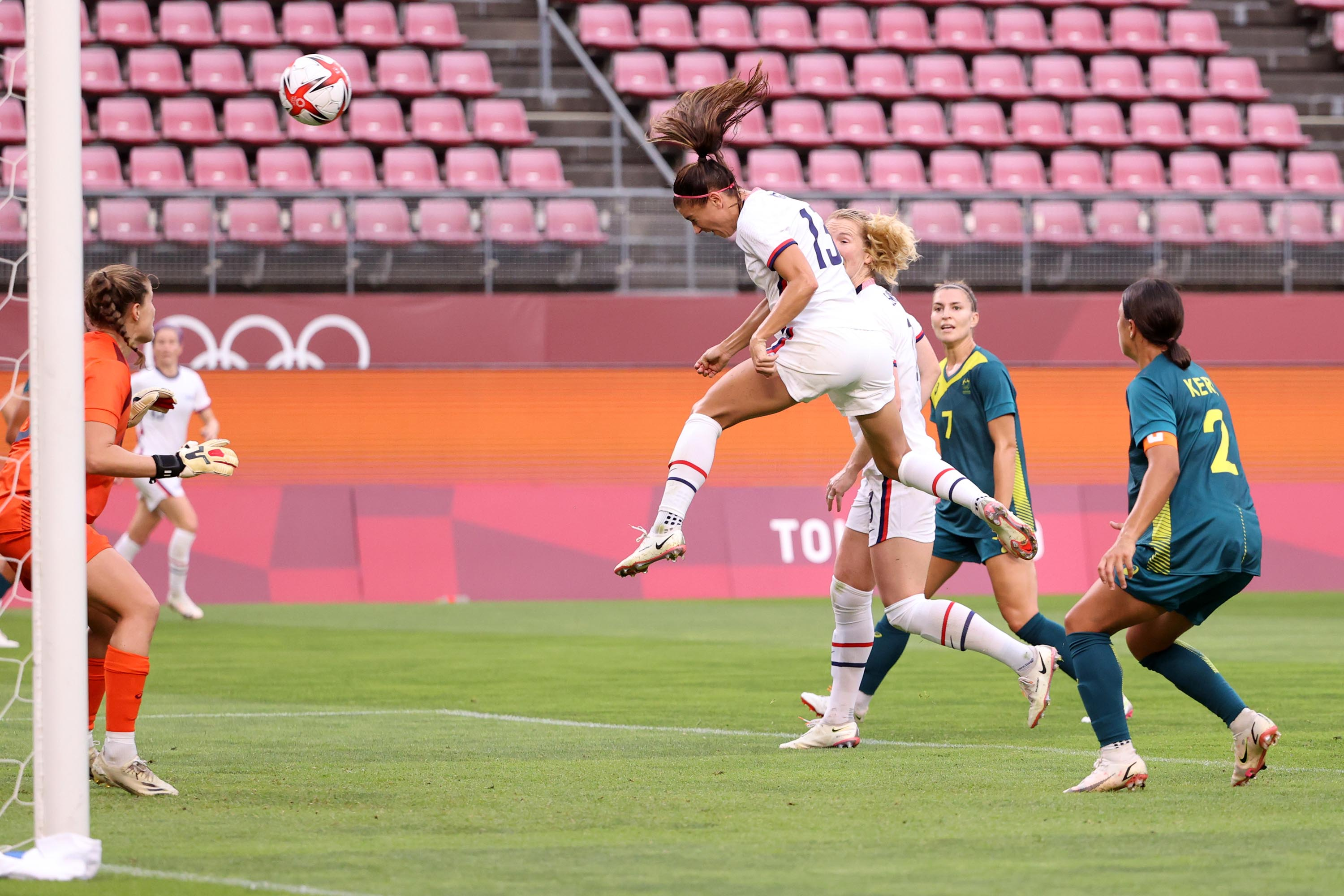 Alex Morgan scores a goal that is ruled out, during the Women's Football Group G match between USA and Australia on July 27.