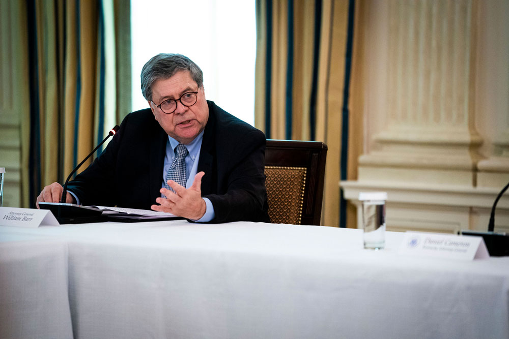 Attorney General William Barr speaks during in a roundtable with law enforcement officials in the State Dining Room of the White House on June 8, in Washington.