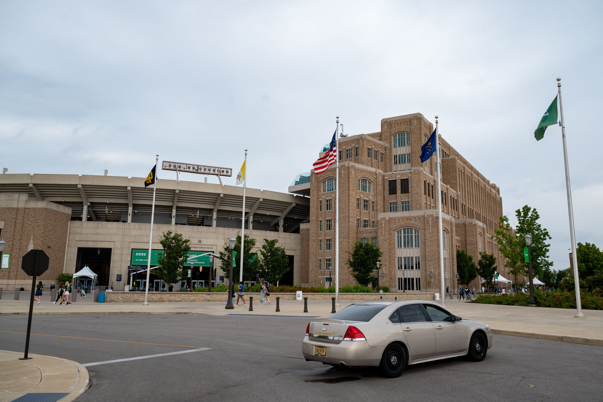 Notre Dame Stadium is seen before a football game on September 12 in Notre Dame, Indiana.
