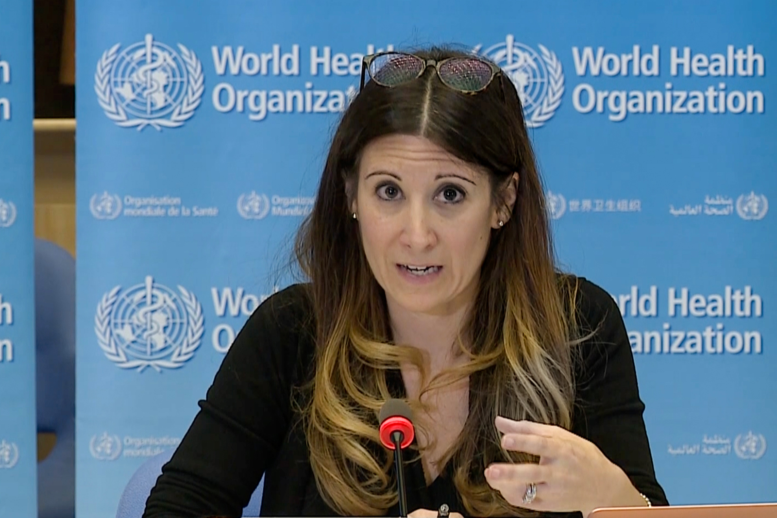 A screengrab taken from a video released by the World Health Organization shows WHO Technical Lead Maria Van Kerkhove speaking at a virtual news briefing on COVID-19 from the WHO headquarters in Geneva, on Monday, April 6.