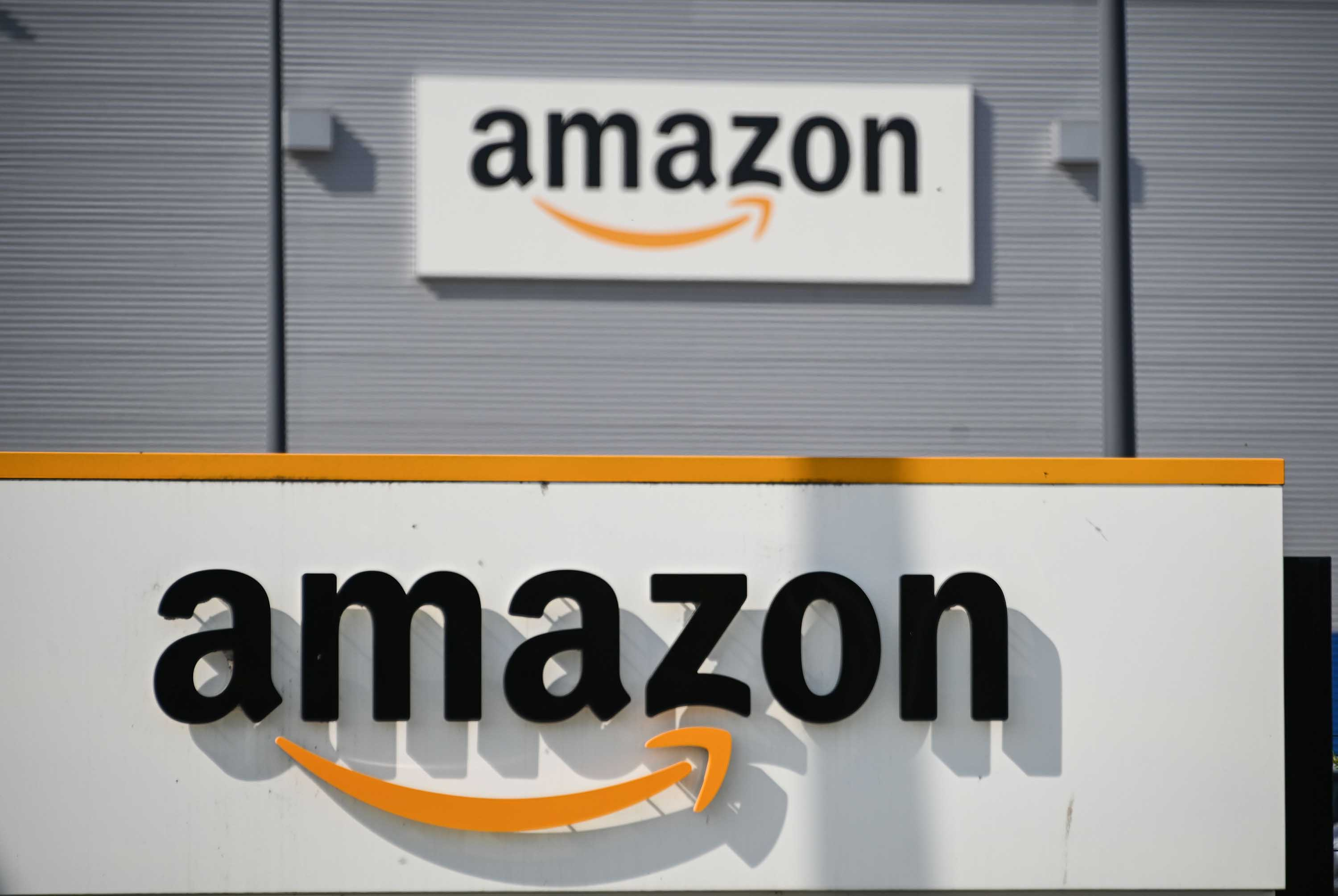 An Amazon logistics center is pictured in Lauwin-Planque, northern France, on April 16.