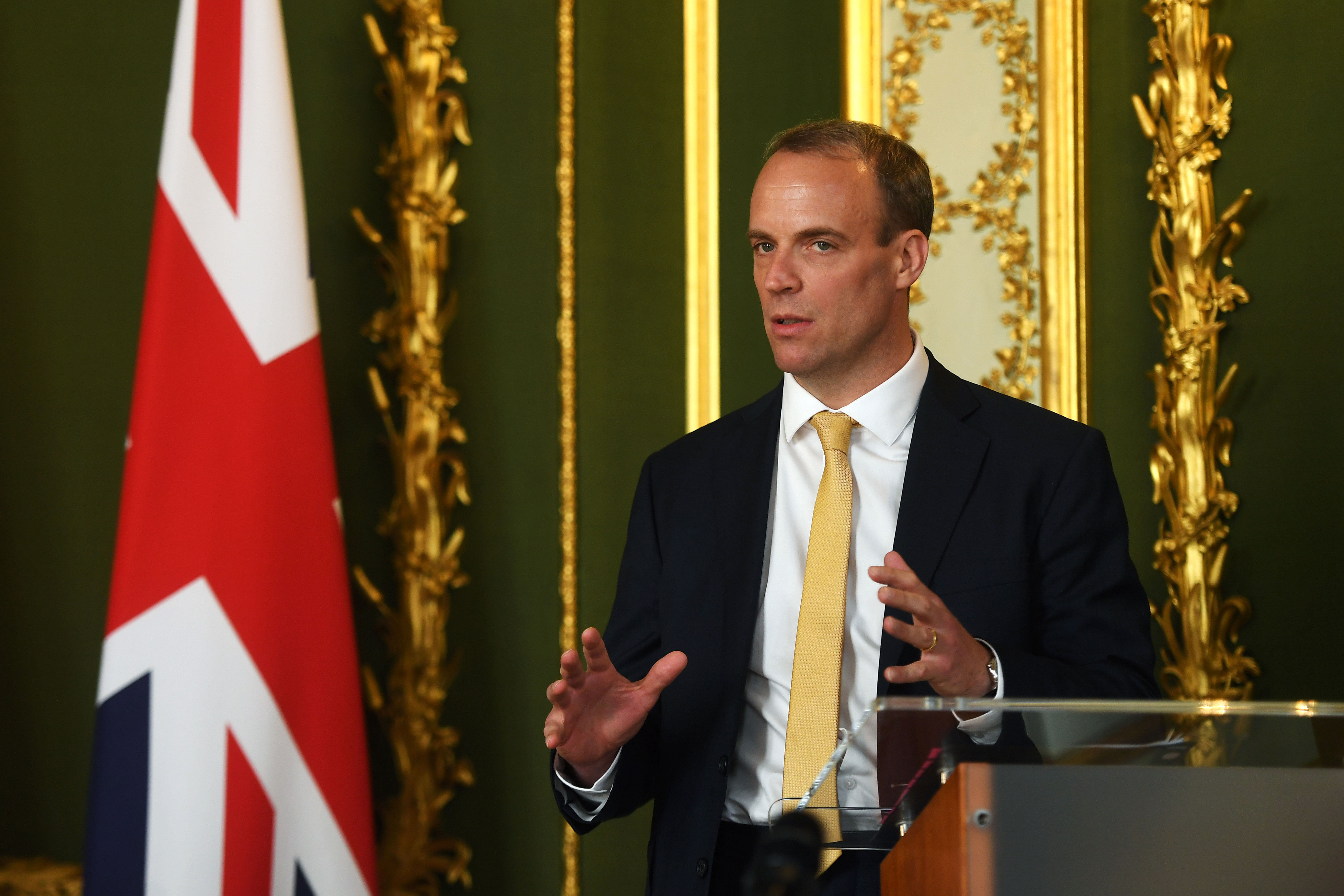 UK Foreign Secretary Dominic Raab speaks during a press conference on July 21 in London.