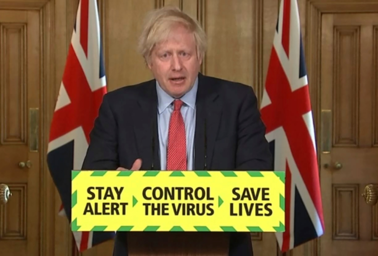 In this screengrab from video, UK Prime Minister Boris Johnson speaks during a media briefing in Downing Street, London, on Thursday, May 28.