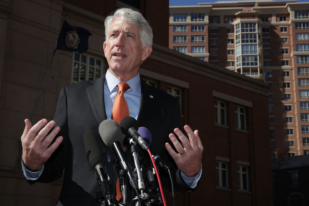 In this Feb. 10, 2017 file photo, Virginia Attorney General Mark Herring speaks to members of the media in front of a US District Court in Alexandria, Virginia.