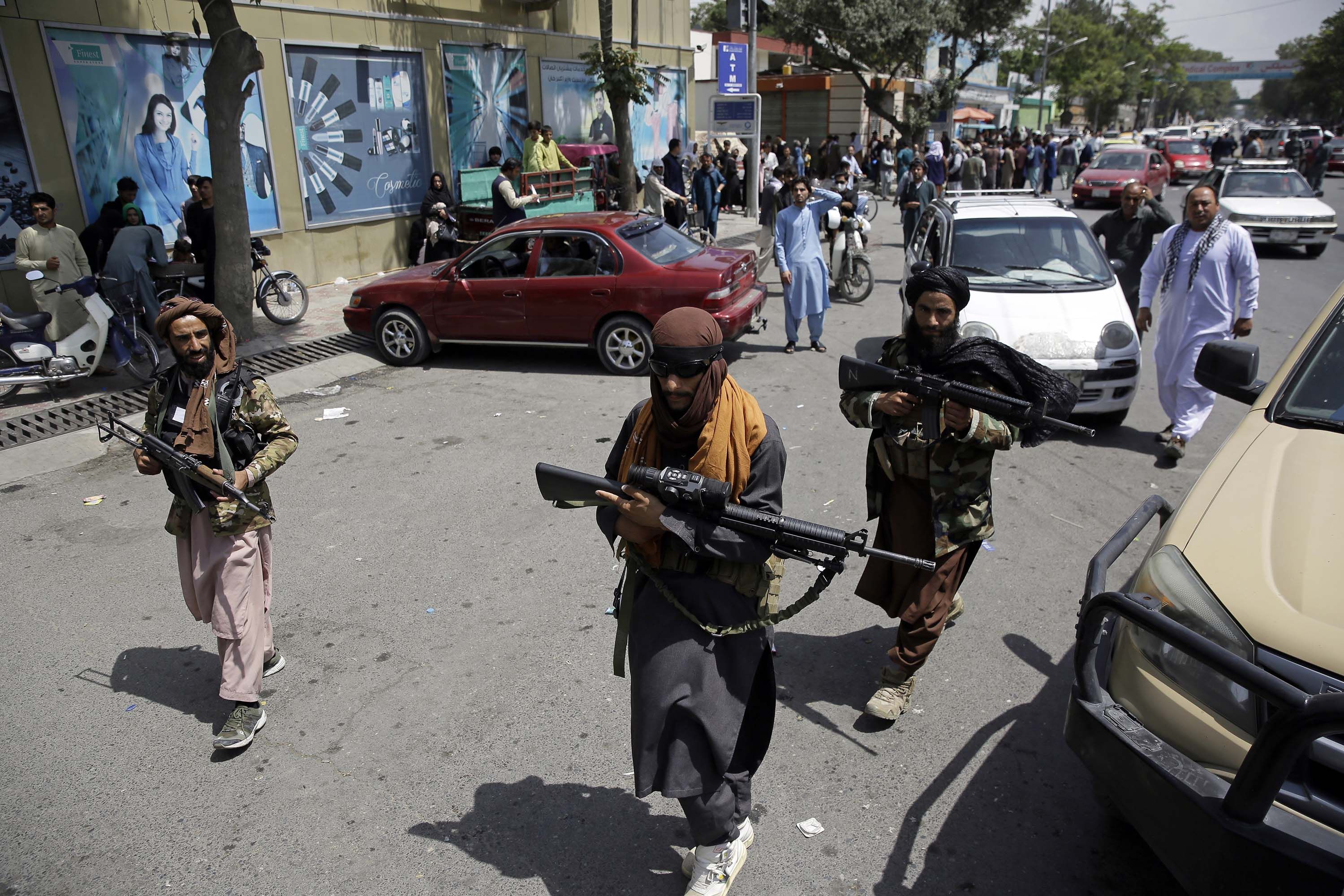Taliban fighters patrol in Kabul, Afghanistan, on Thursday, August 19.