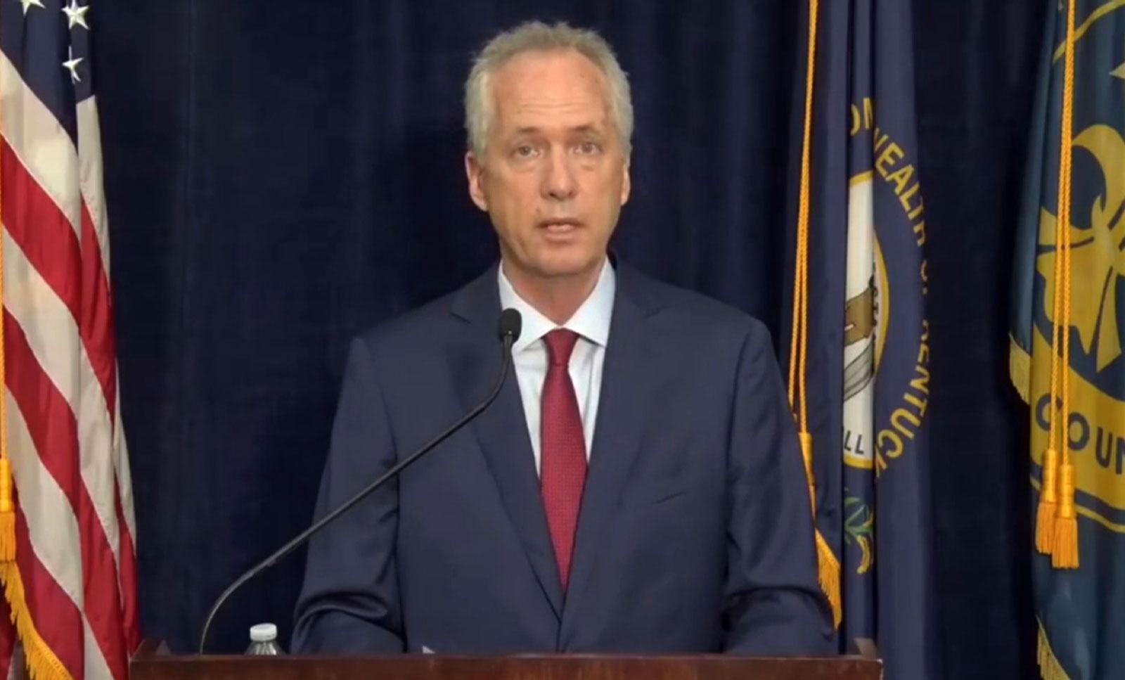 Louisville Mayor Greg Fischer speaks during a press conference on Thursday, September 24.