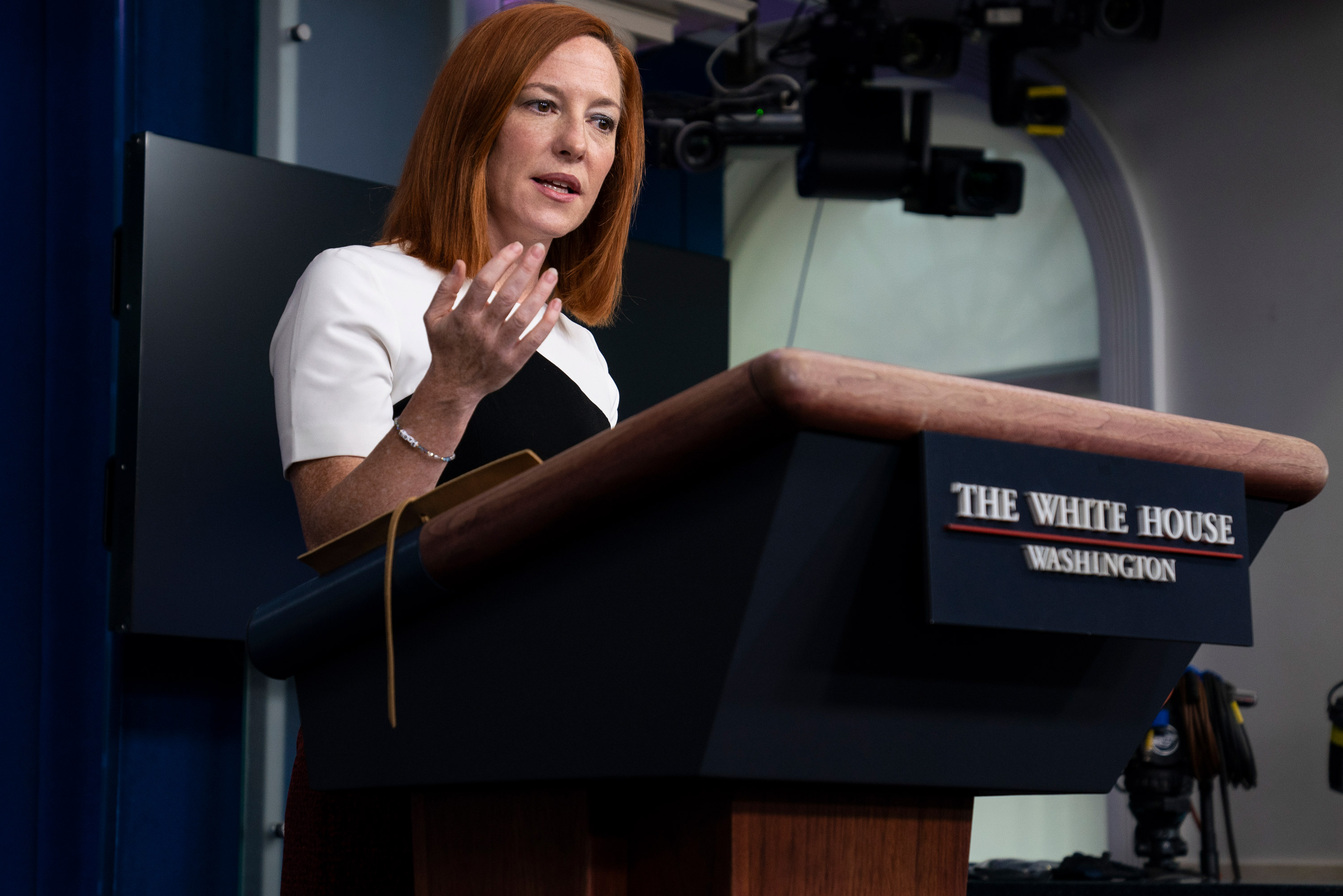 White House press secretary Jen Psaki speaks during a press briefing at the White House on February 23 in Washington, DC.