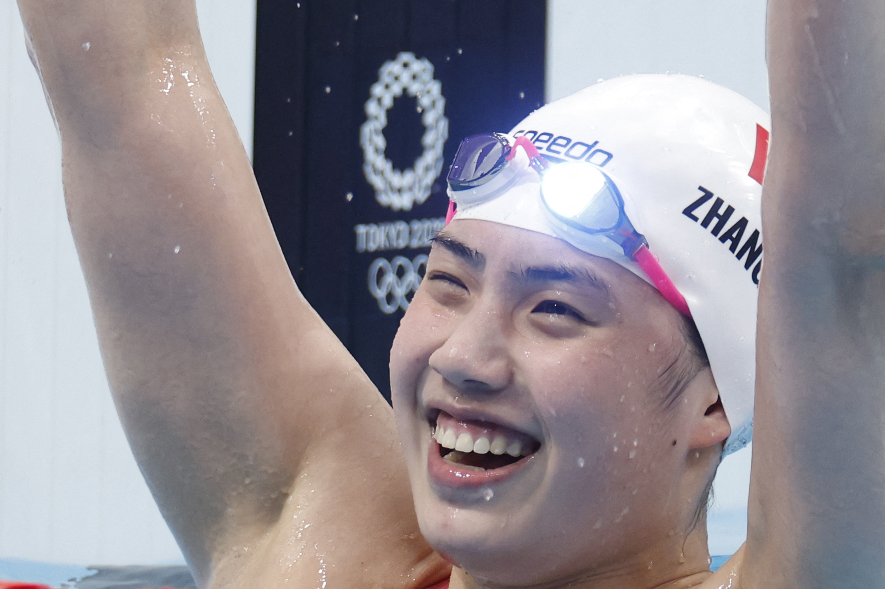 China's Zhang Yufei celebrates winning gold in the 200-meter butterfly on July 29.