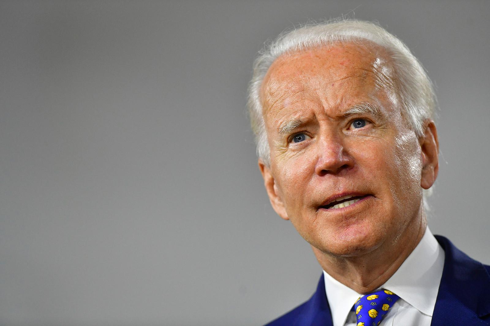 Presumptive Democratic presidential nominee former Vice President Joe Biden delivers a speech at the William Hicks Anderson Community Center, on July 28, in Wilmington, Delaware.