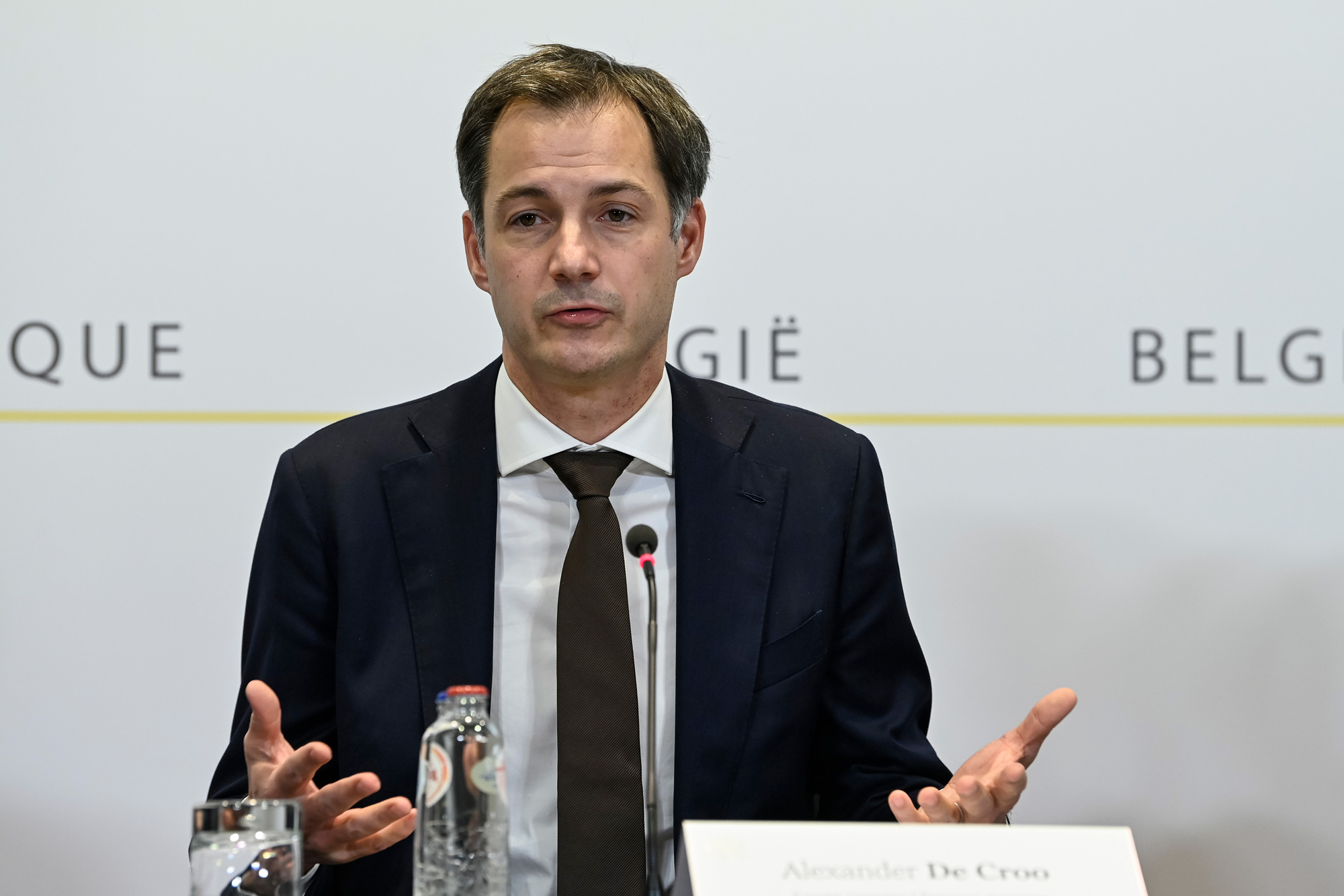 Belgian Prime Minister Alexander De Croo gives a press conference in Brussels on October 30.