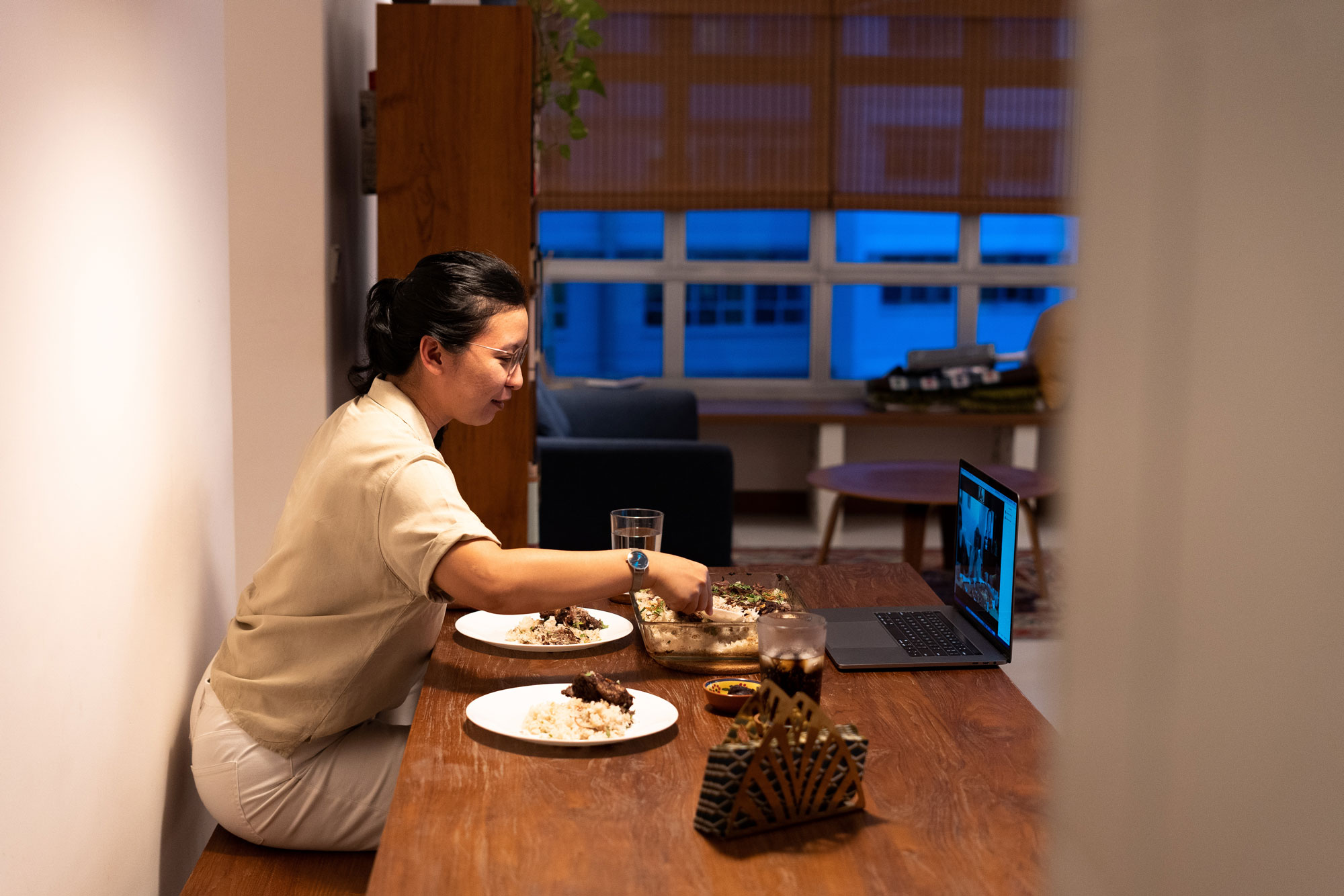 Aqilah Zailan breaks fast at home with her parents over a video call in Singapore on April 25.