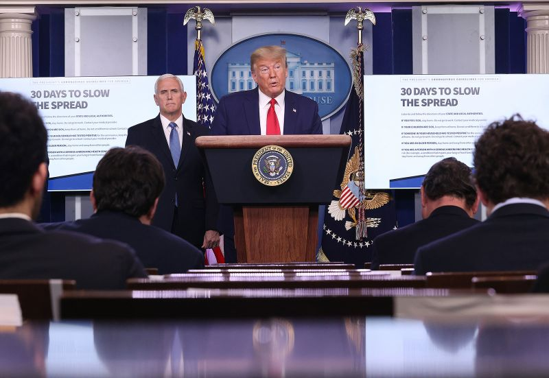 President Donald Trump in the daily coronavirus task force briefing at the White House on March 31.