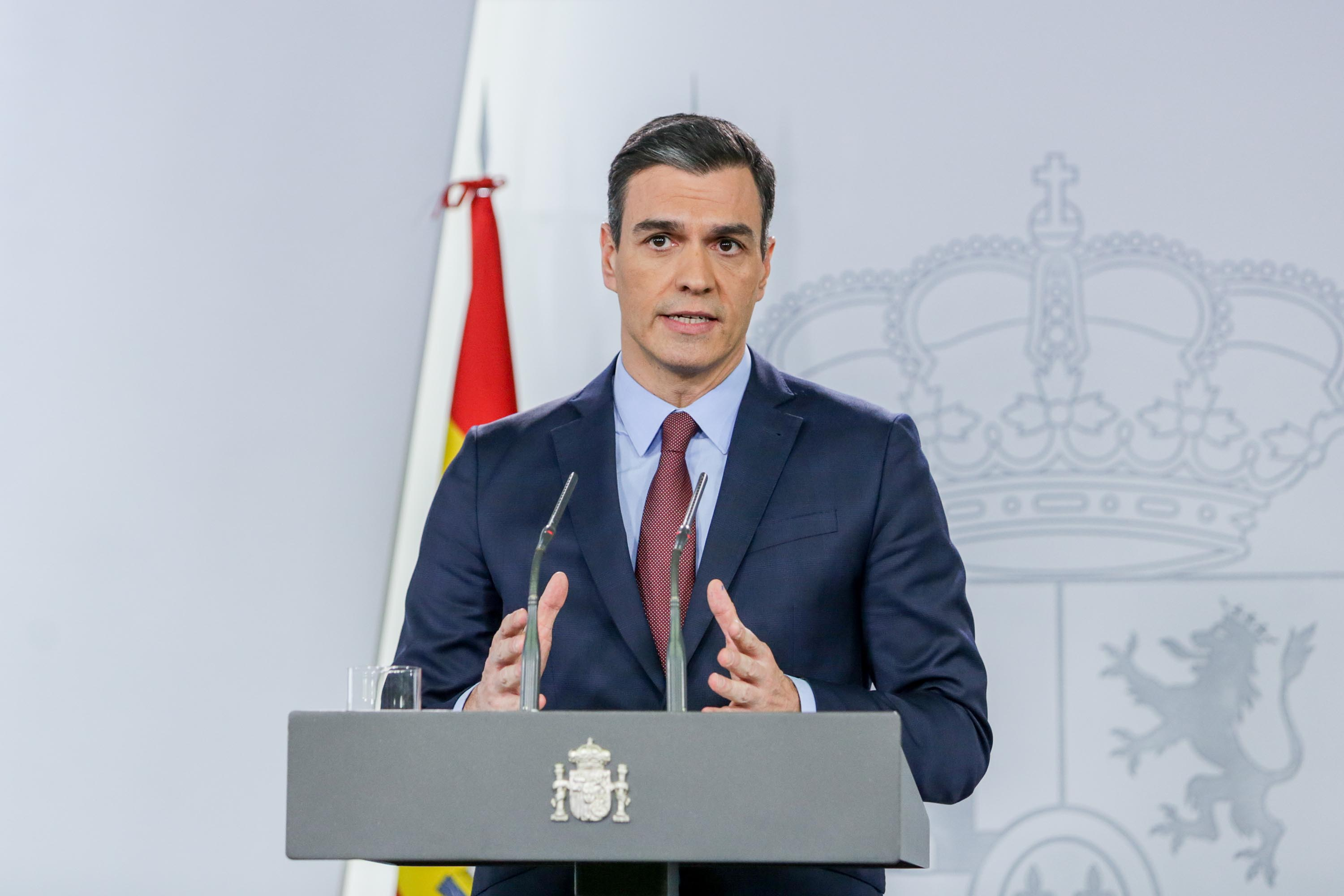 Spanish Prime Minister Pedro Sanchez gives a press conference on the impact of the coronavirus outbreak in Madrid, Spain, on March 10.