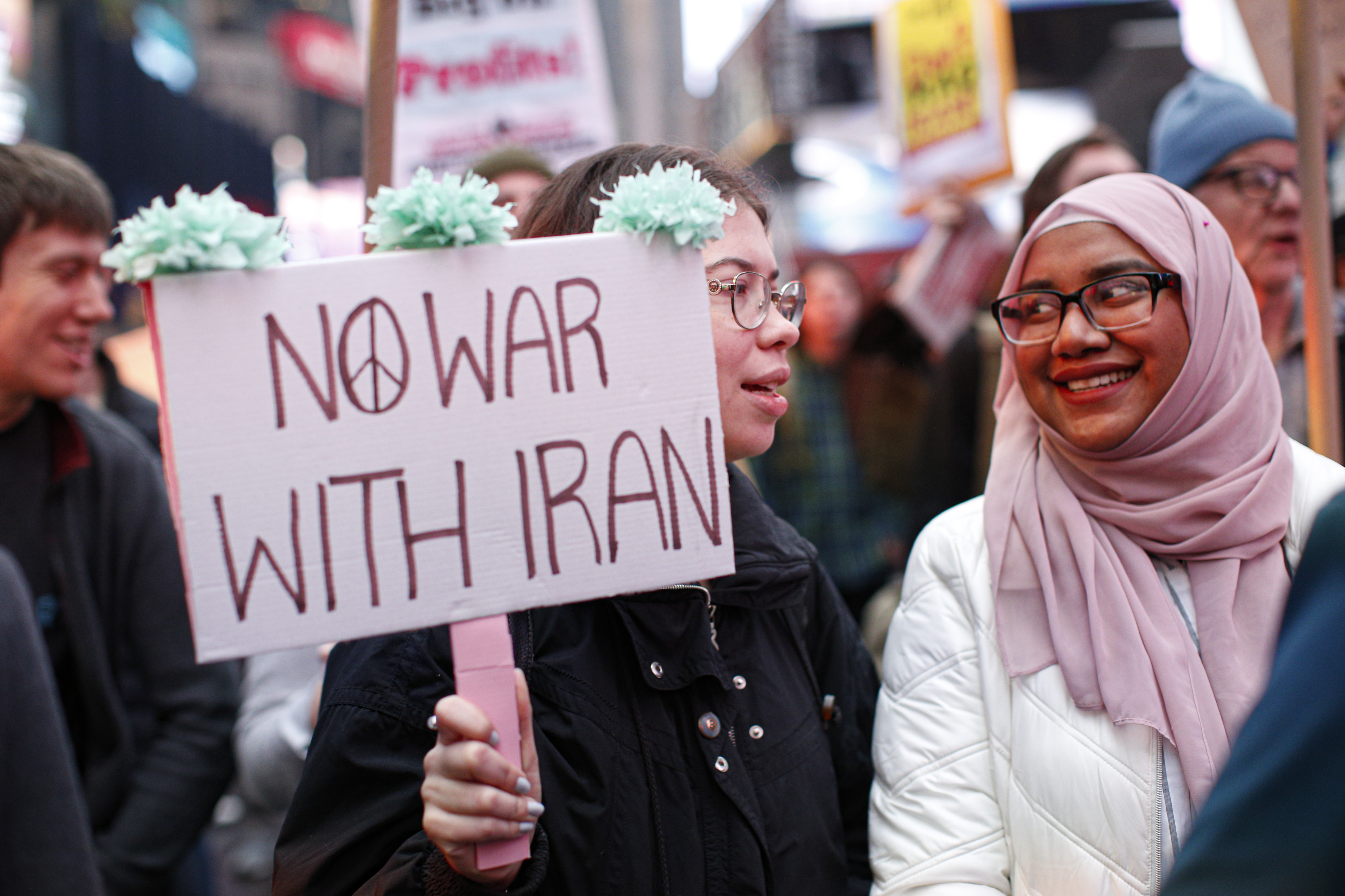 An anti-war protest at Times Square in New York on January 4, 2020.