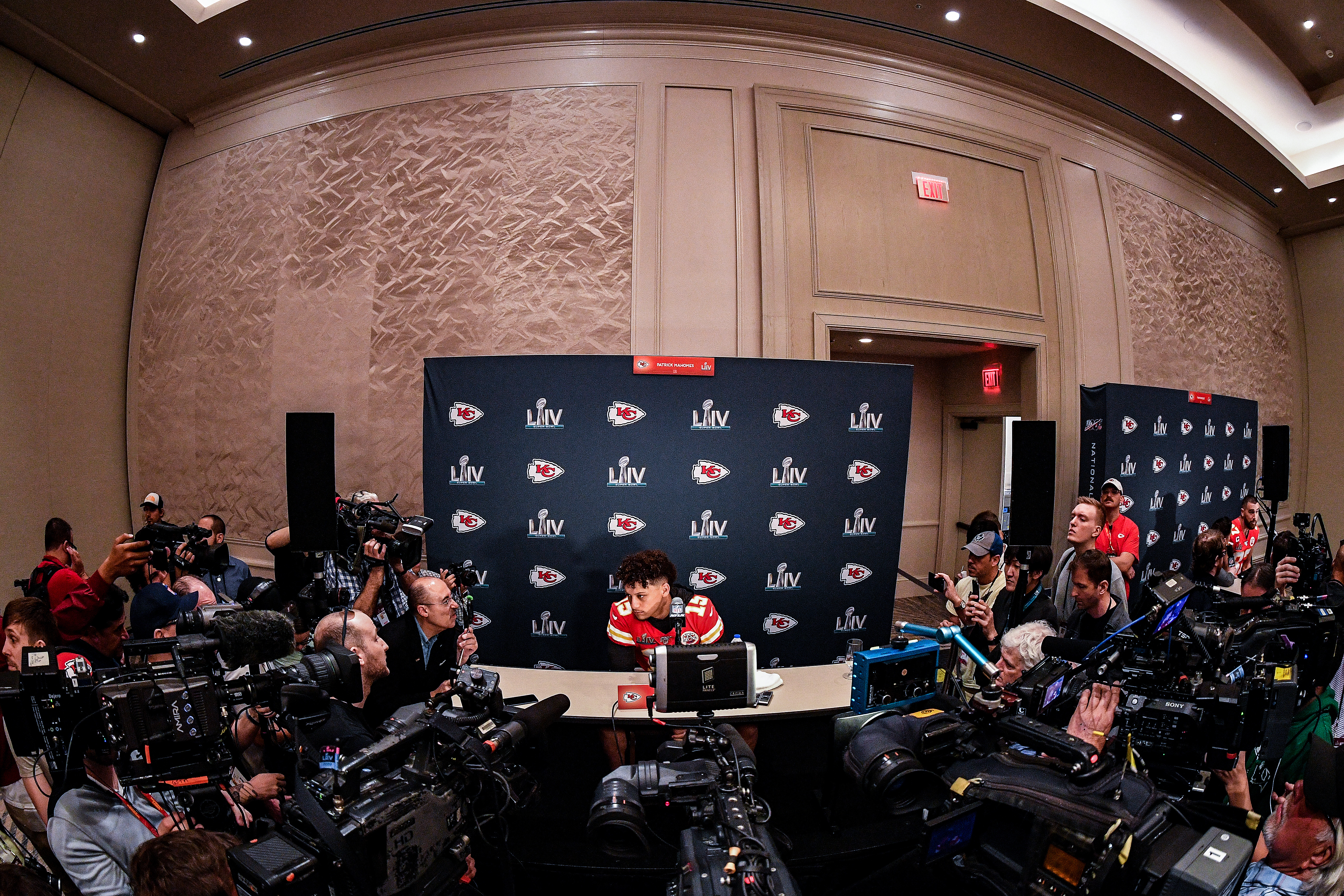 Patrick Mahomes of the Kansas City Chiefs speaks to the media during the Kansas City Chiefs media availability prior to Super Bowl LIV