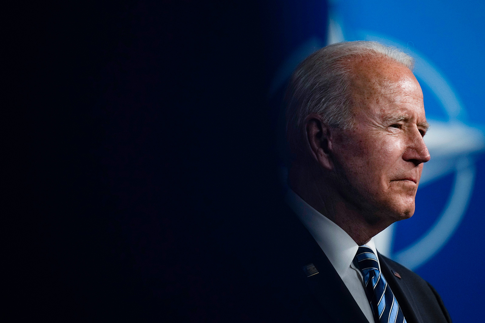 U.S. President Joe Biden speaks during a media conference at a NATO summit in Brussels on Monday, June 14.
