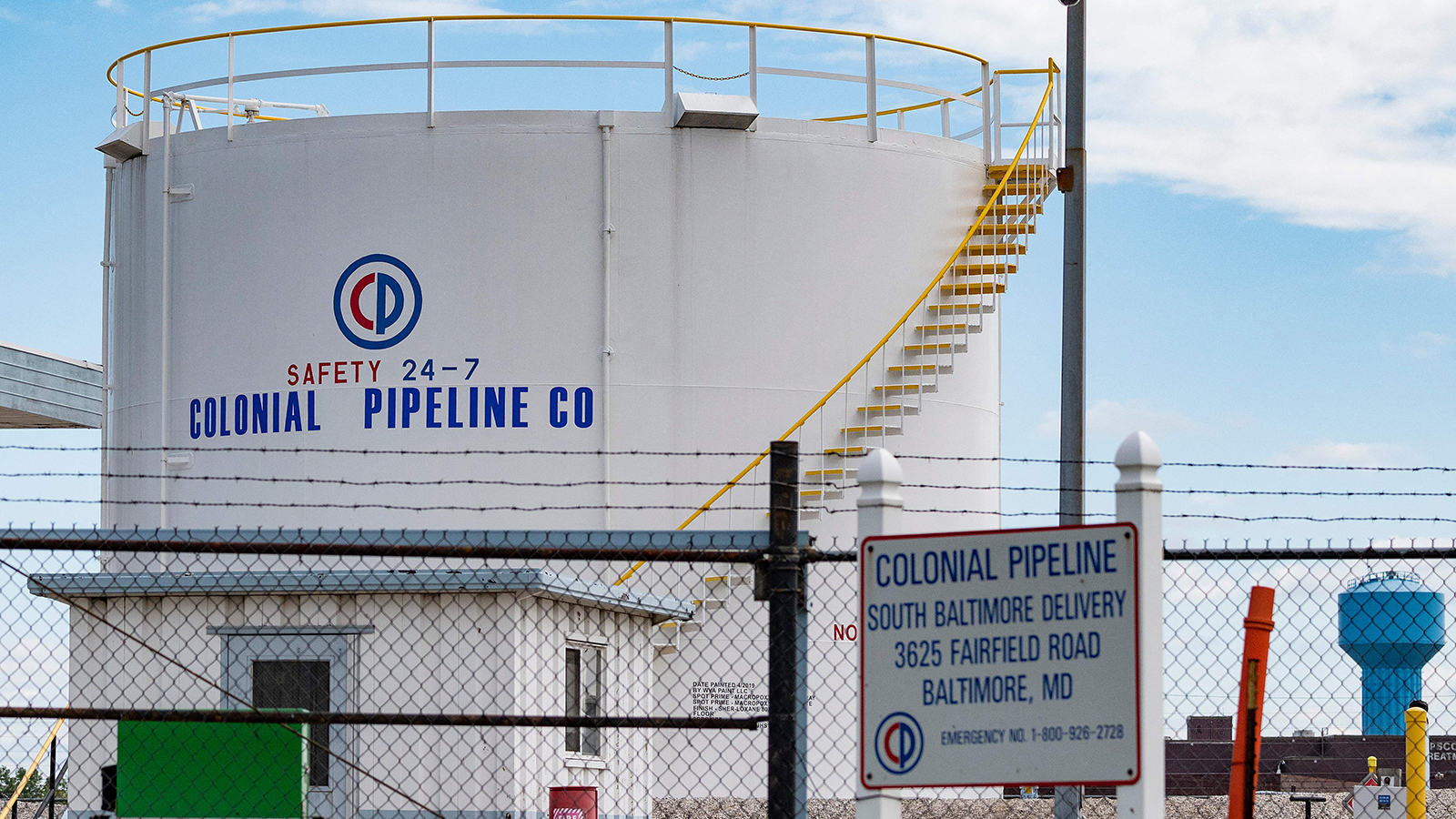 Fuel tanks are seen at Colonial Pipeline Baltimore Delivery in Baltimore, Maryland on May 10.