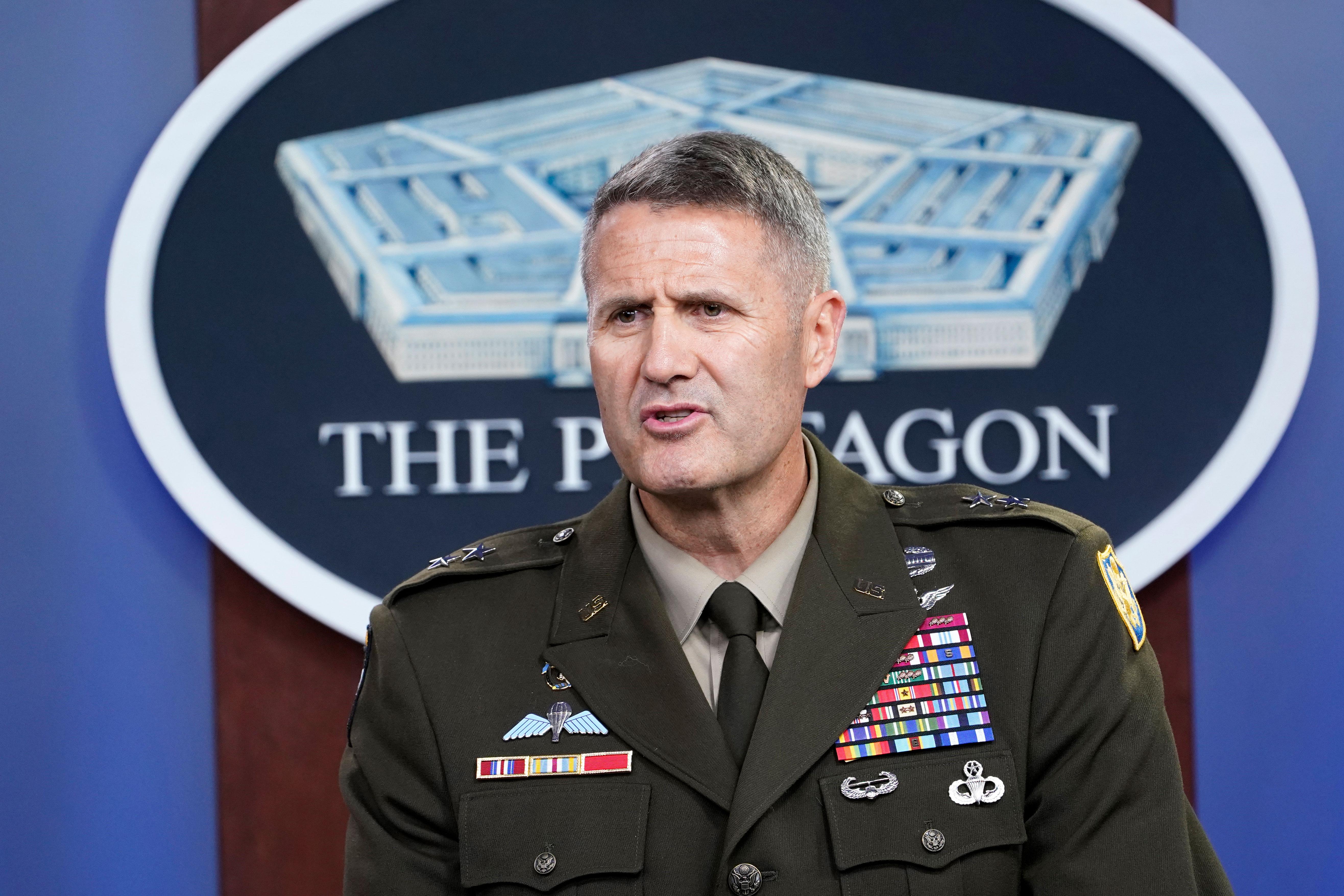 Maj. Gen. Hank Taylor speaks during a briefing in Washington, DC, on August 28, 2021.