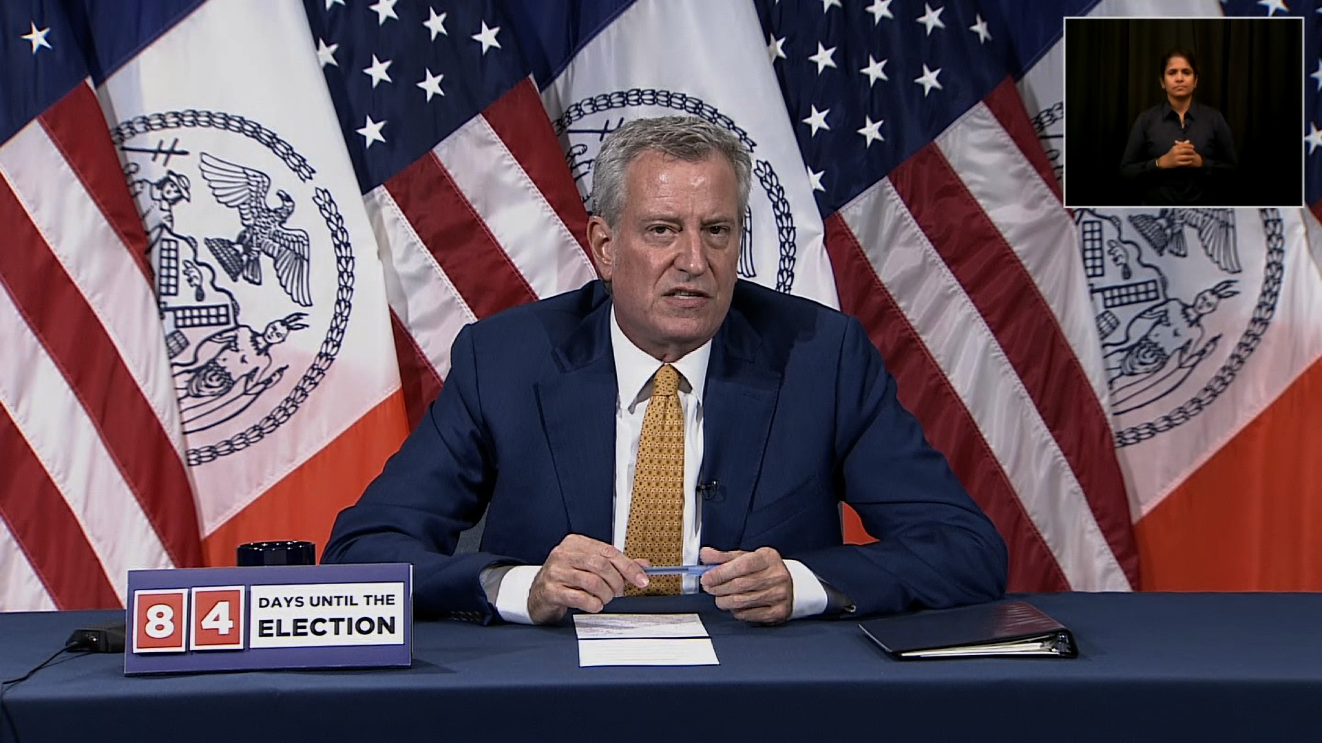 New York City Mayor Bill de Blasio speaks during a press conference in New York City on August 11.