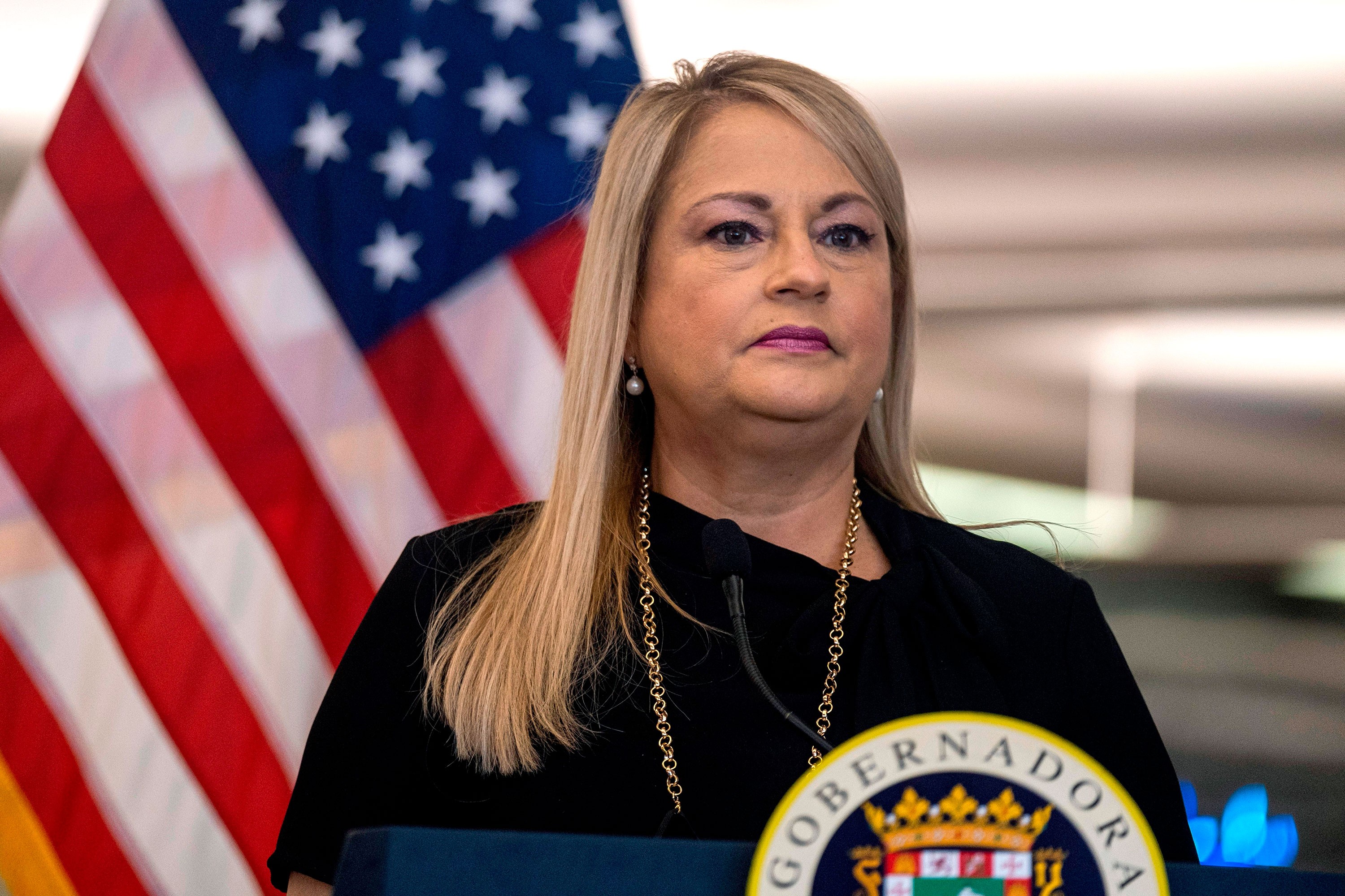 Puerto Rico Governor Wanda Vazquez Garced speaks during a press conference on June 30 in San Juan, Puerto Rico.