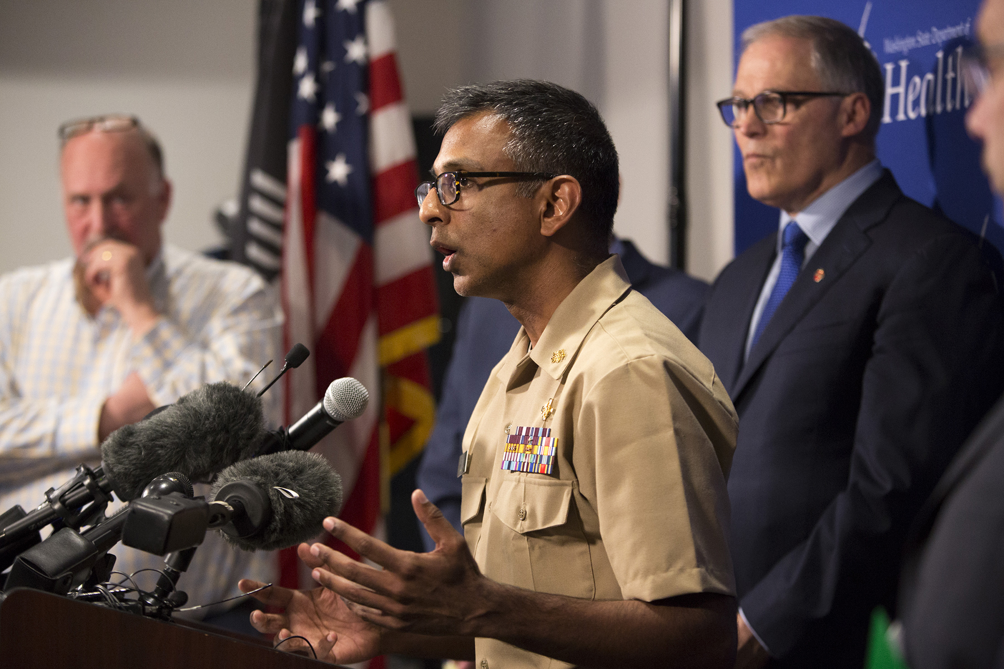 Satish Pillai, Medical Officer in the Division of Preparedness and Emerging Infections at the Centers for Disease Control and Prevention, talks during a press conference in Shoreline, Washington on Tuesday, January 21.