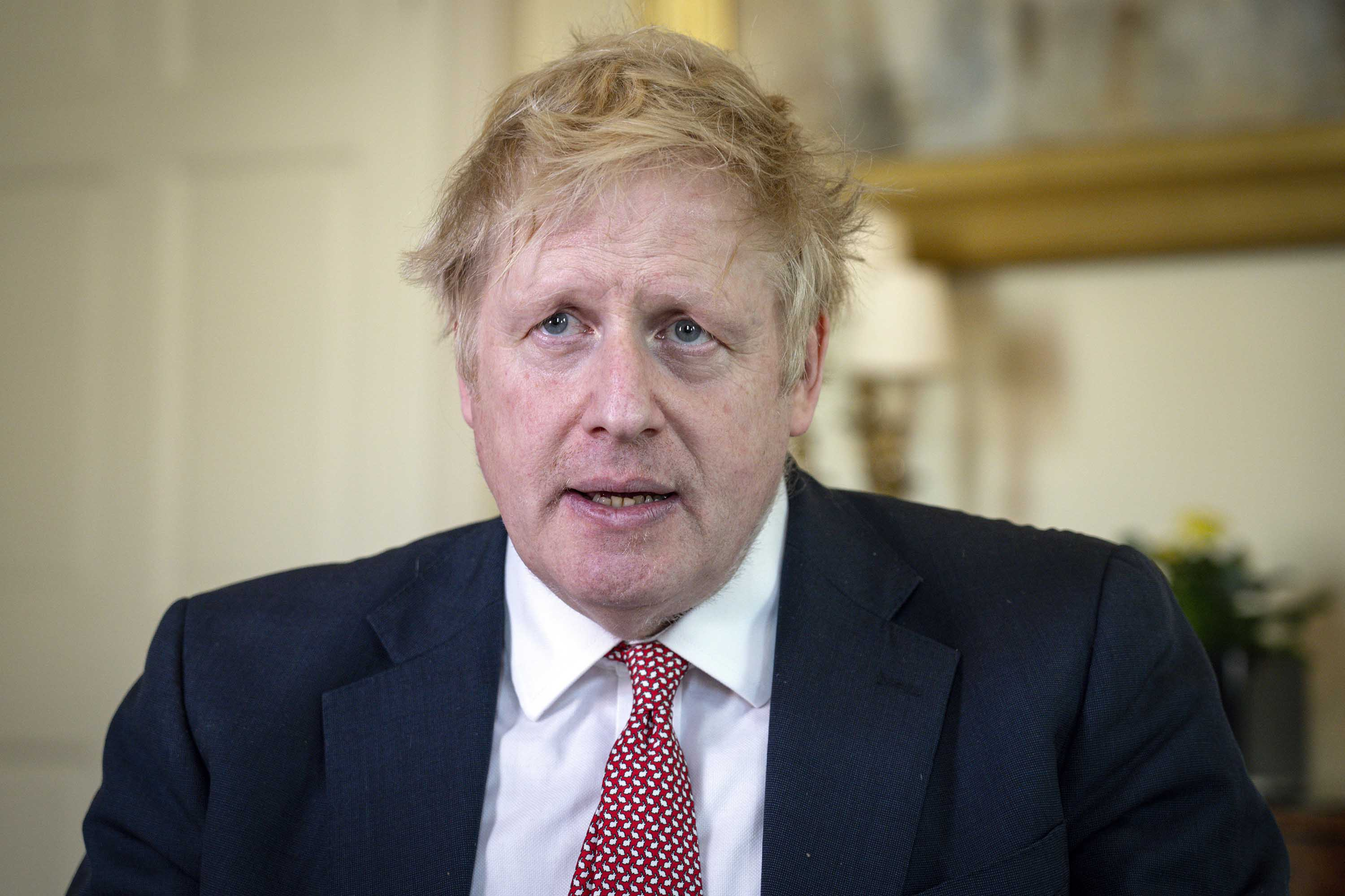 British Prime Minister Boris Johnson is pictured on April 12 in London, England.