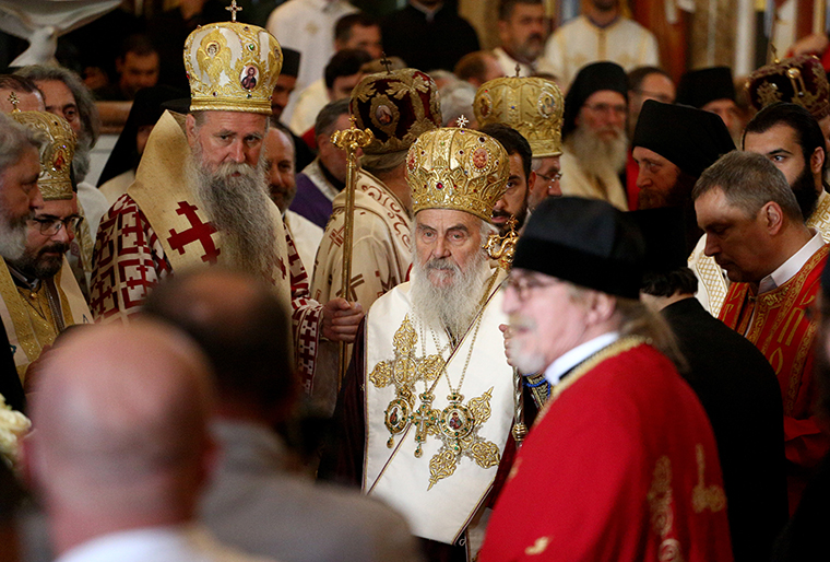 Serbian Patriarch Irinej during a funeral service on November 1, 2020 in Podgorica, Montenegro.