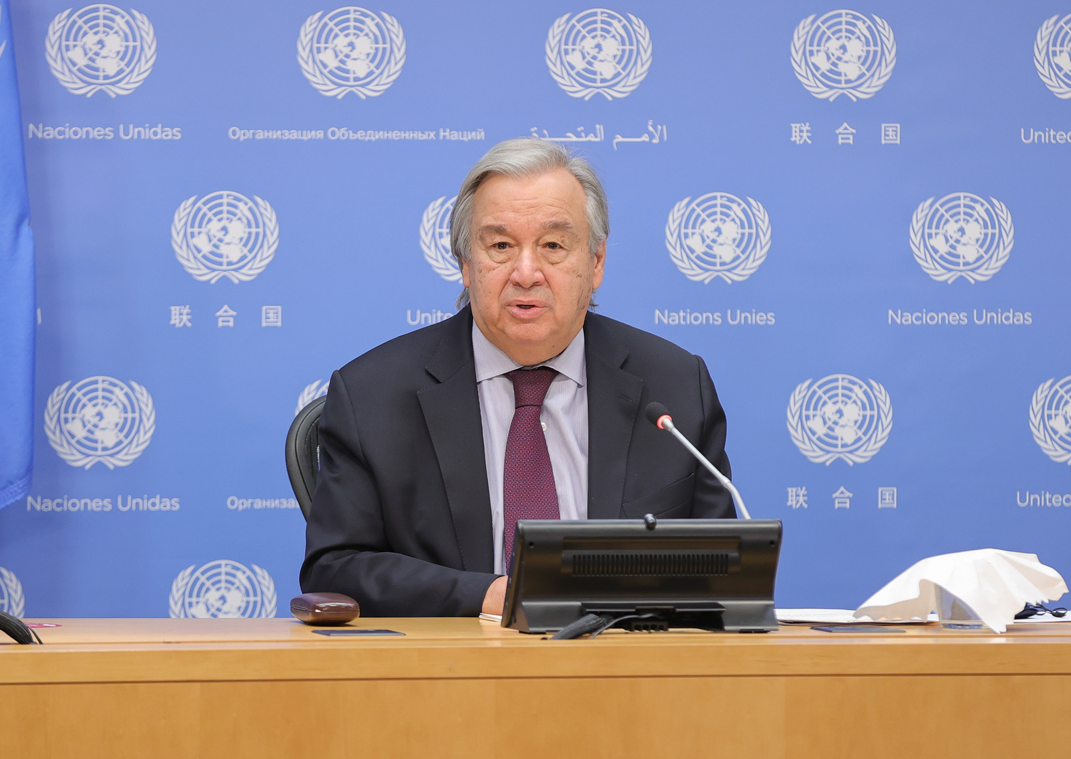 Secretary-General Antonio Guterres briefs reporters during a news conference at the United Nations in Manhattan, New York, on November 20.