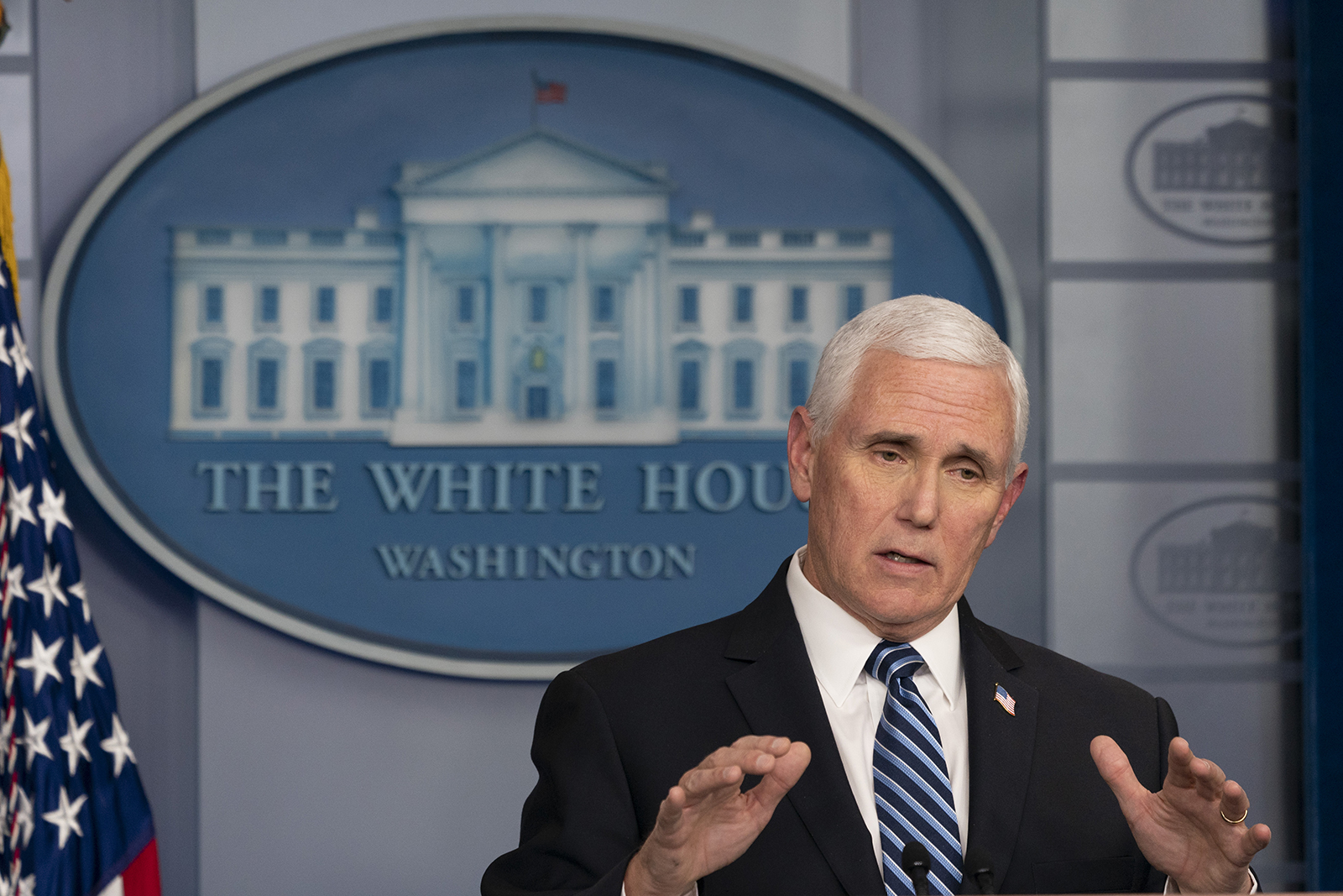 Vice President Mike Pence speaks during a news conference in the White House in Washington, on April 24.