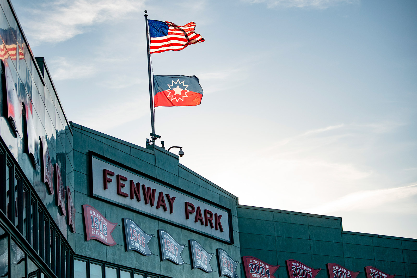 The Juneteenth flag flies over Fenway Park in Boston on Thursday.