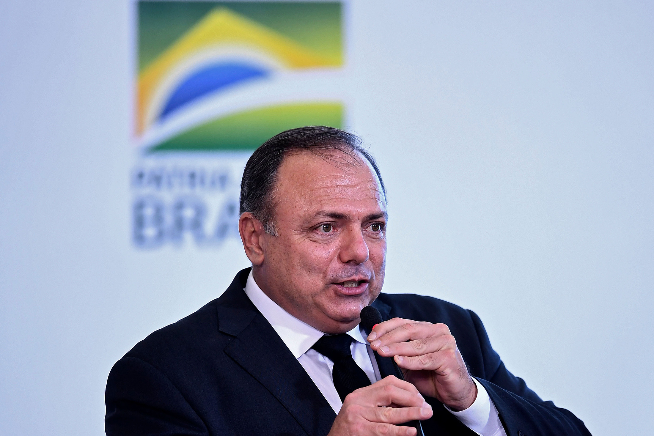 Brazilian Health Minister Eduardo Pazuello at the Planalto Palace in Brasilia, on October 14, 2020.