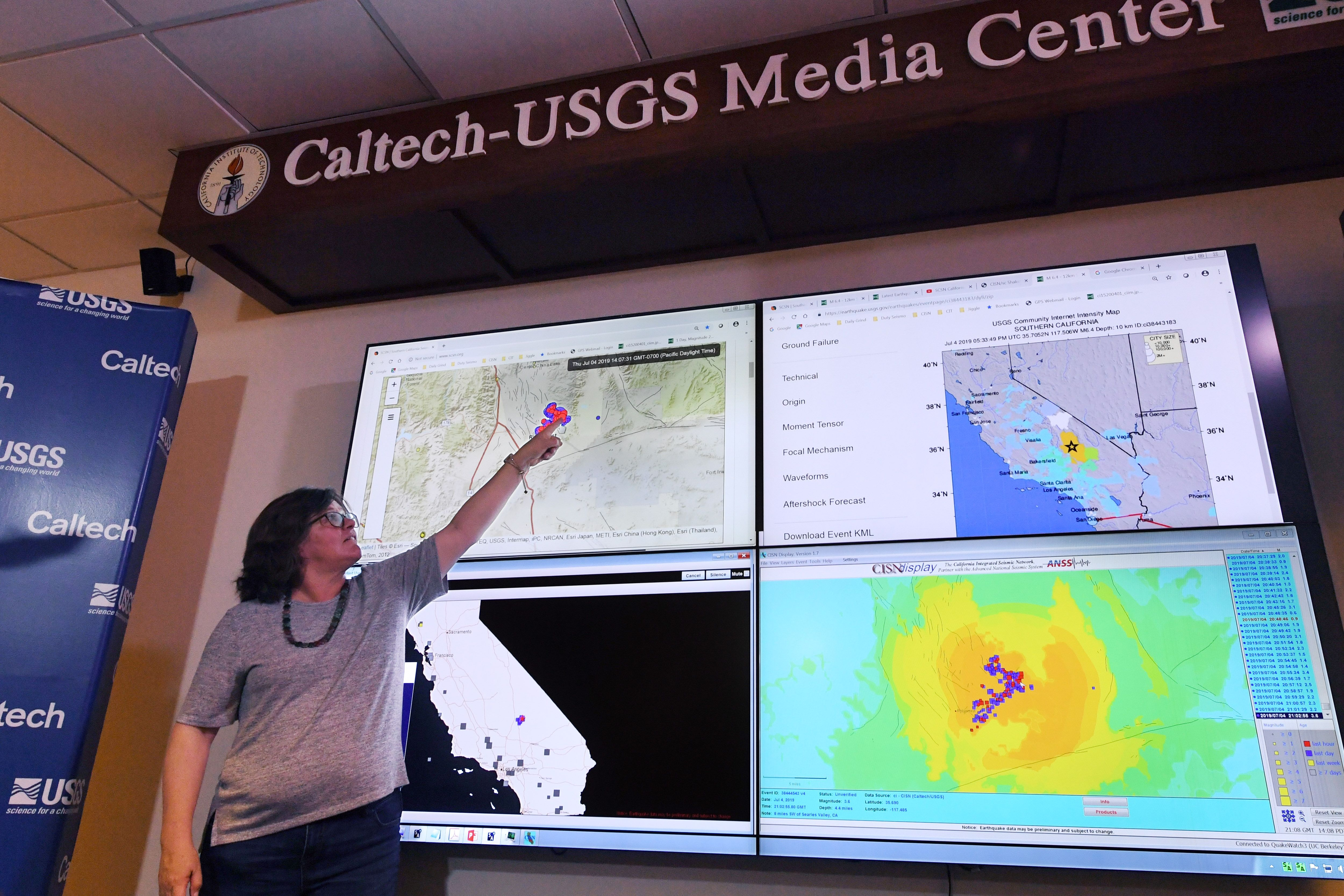 Seismologist Lucy Jones speaks at a media briefing at the Caltech Seismological Laboratory in Pasadena, California.