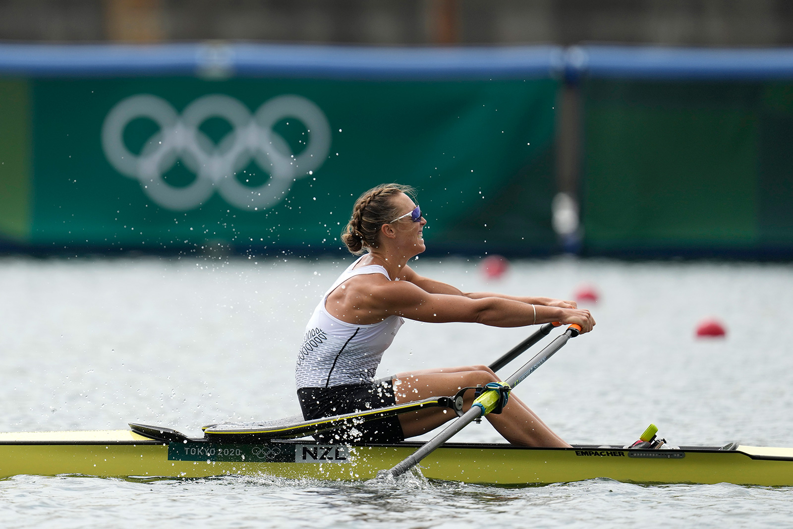 Emma Twigg of New Zealand competes in the women's rowing single sculls final on Friday.