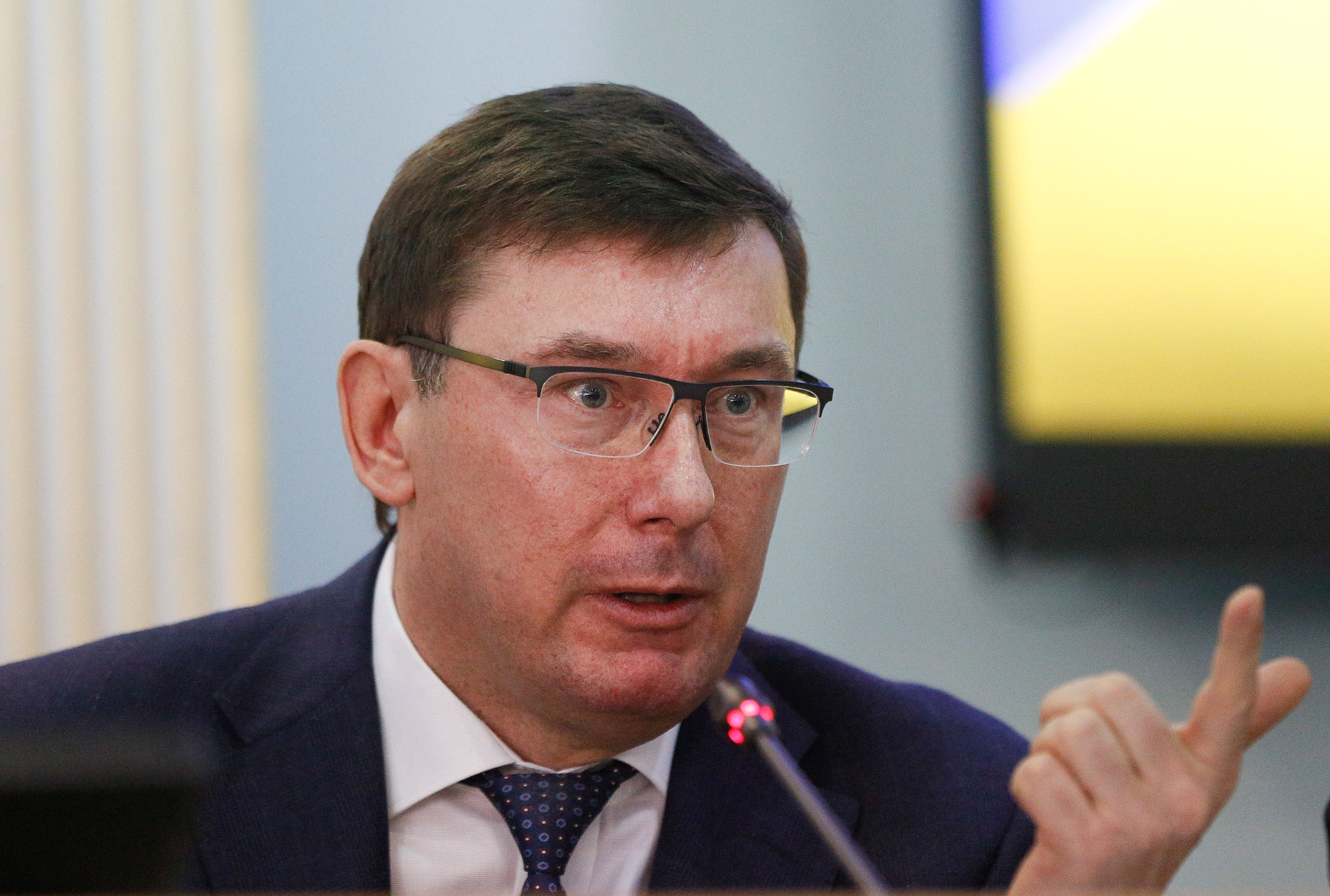 Ukrainian Prosecutor General Yuriy Lutsenko speaks during a briefing at the Central Election Commission in Kiev, Ukraine, in March 2019.