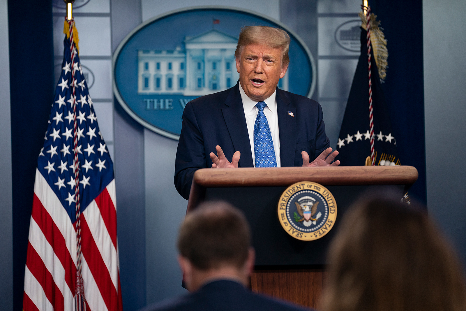 President Donald Trump speaks during a news conference at the White House in Washington, DC on July 22.