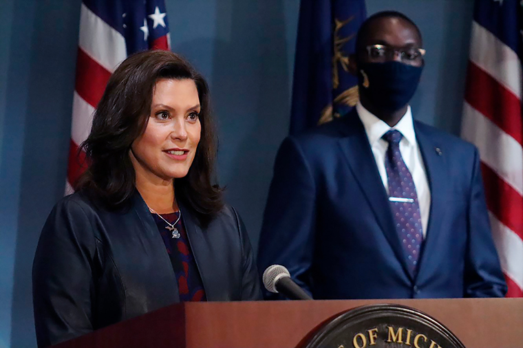 Gov. Gretchen Whitmer addresses the state during a speech in Lansing, Michigan on Wednesday, September 2.