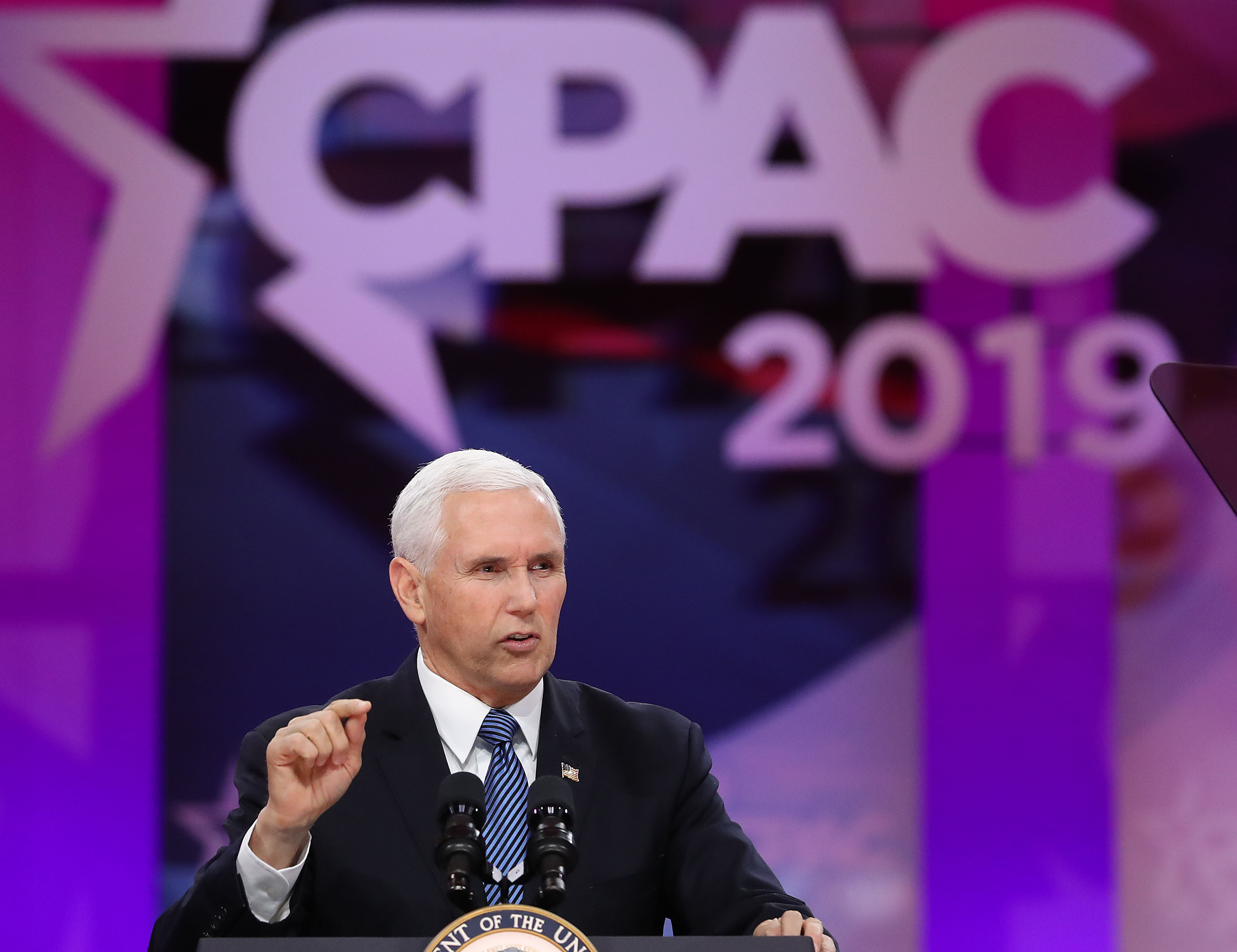Vice President Mike Pence speaks during CPAC 2019 in National Harbor, Maryland.